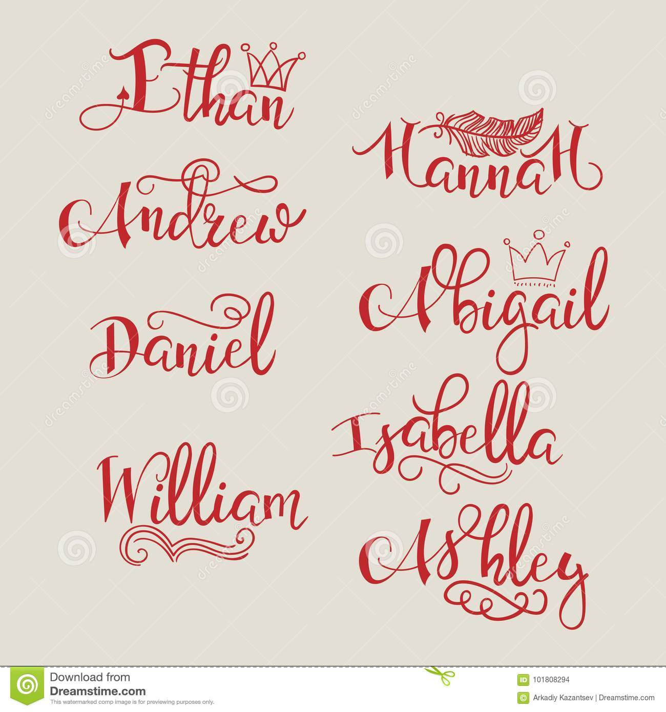 A Set Of Calligraphic Names Stock Illustration