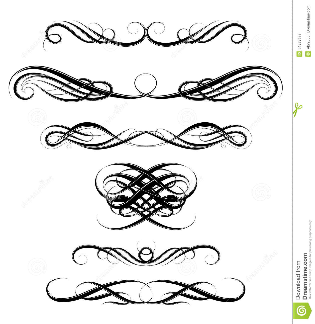 Set of calligraphic swirls stock vector image