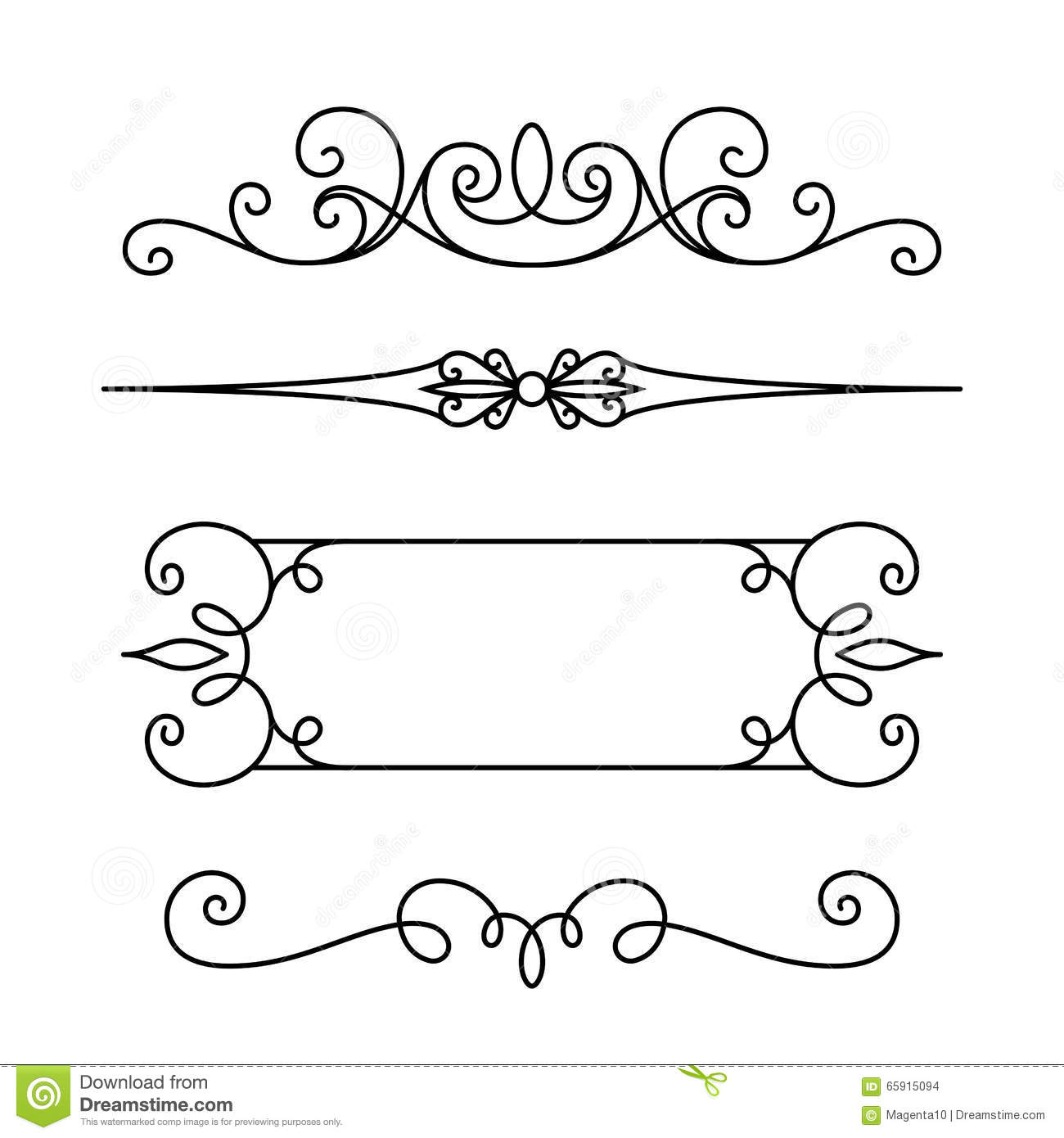 flourish divider vector set of vignettes borders in victorian style 3266