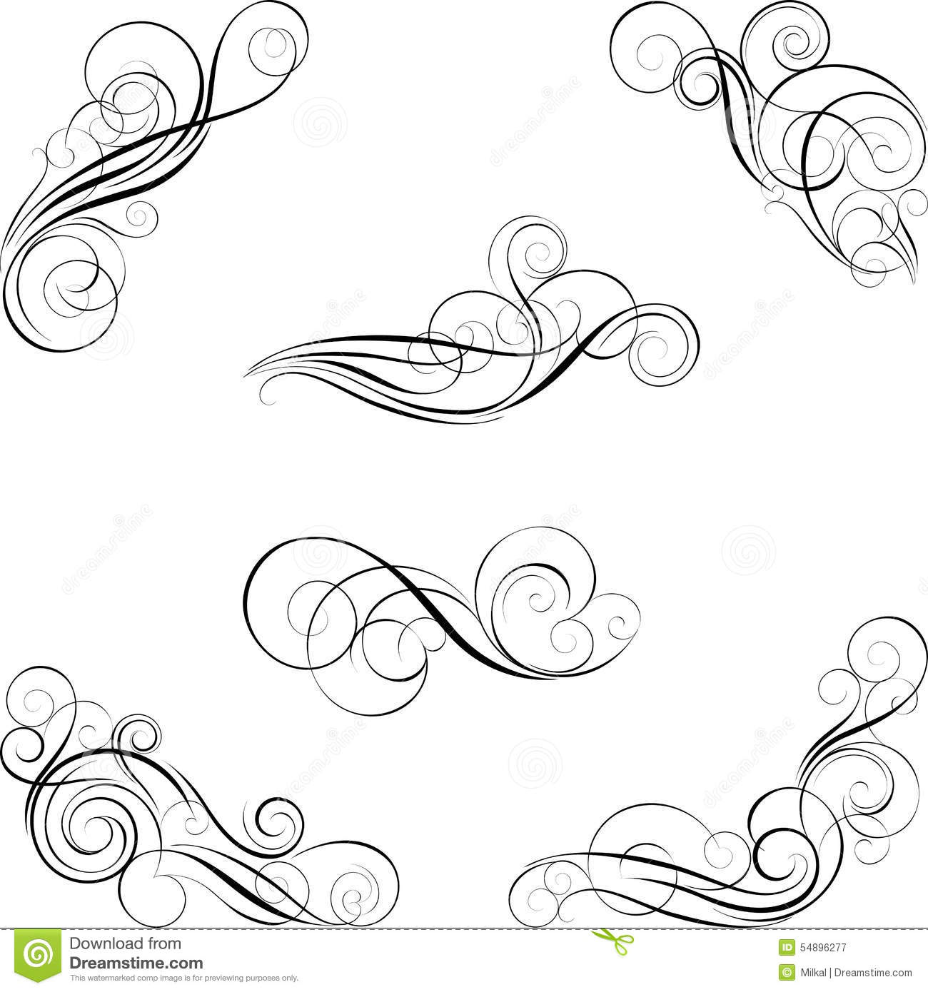 Set Of Calligraphy Design Stock Vector Illustration Elements