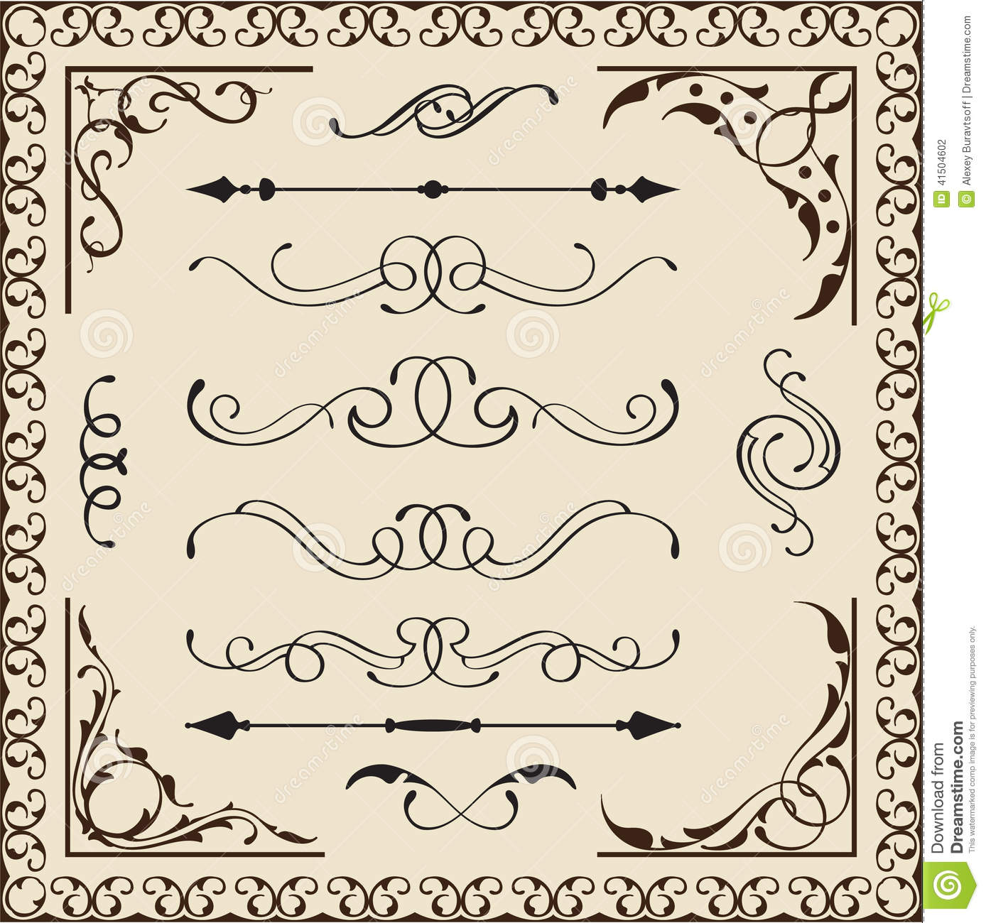 Antique Calligraphy: Set Of Calligraphy Elements Stock Illustration