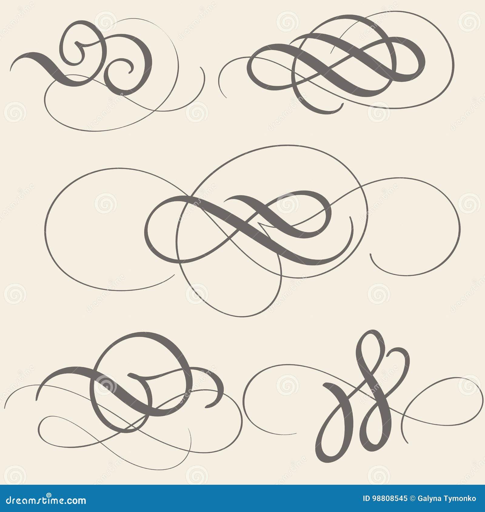 Set of calligraphy flourish art with vintage decorative whorls for design on beige background. Vector illustration EPS10