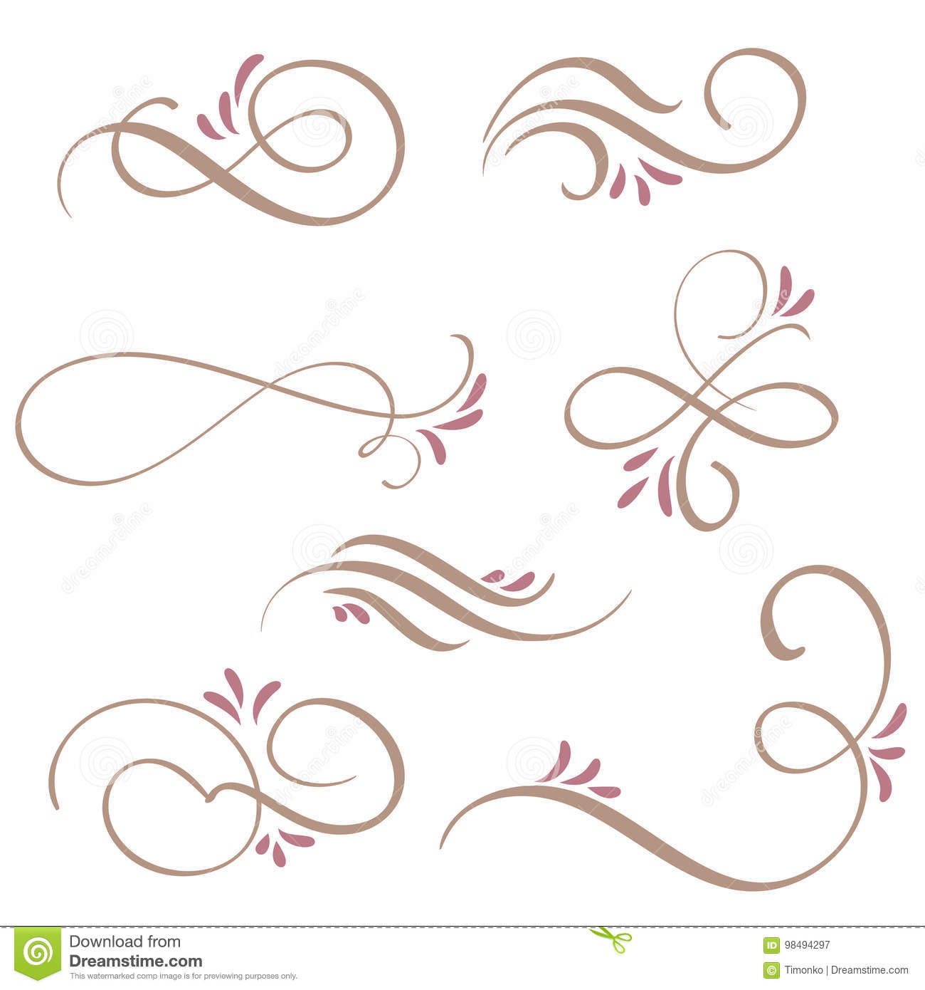 Set of calligraphy flourish art with vintage decorative whorls for design. Vector illustration EPS10