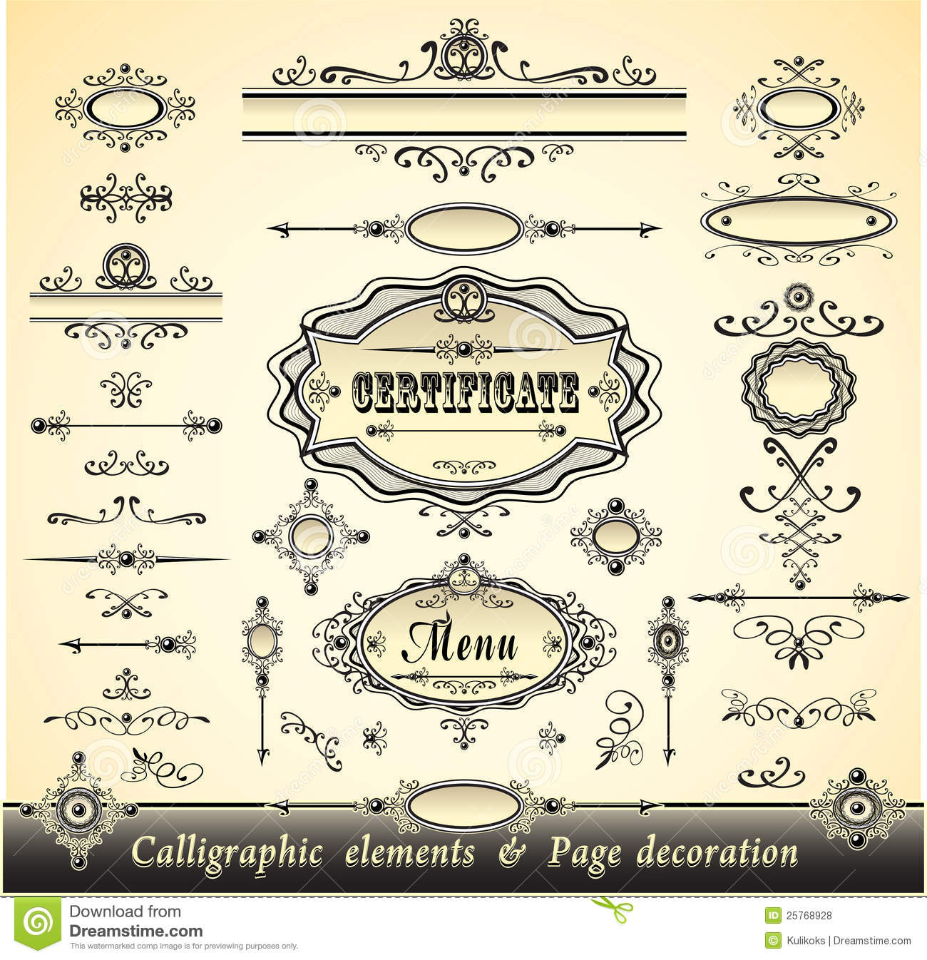 Set calligraphy and pages decoration royalty free stock Calligraphy pages