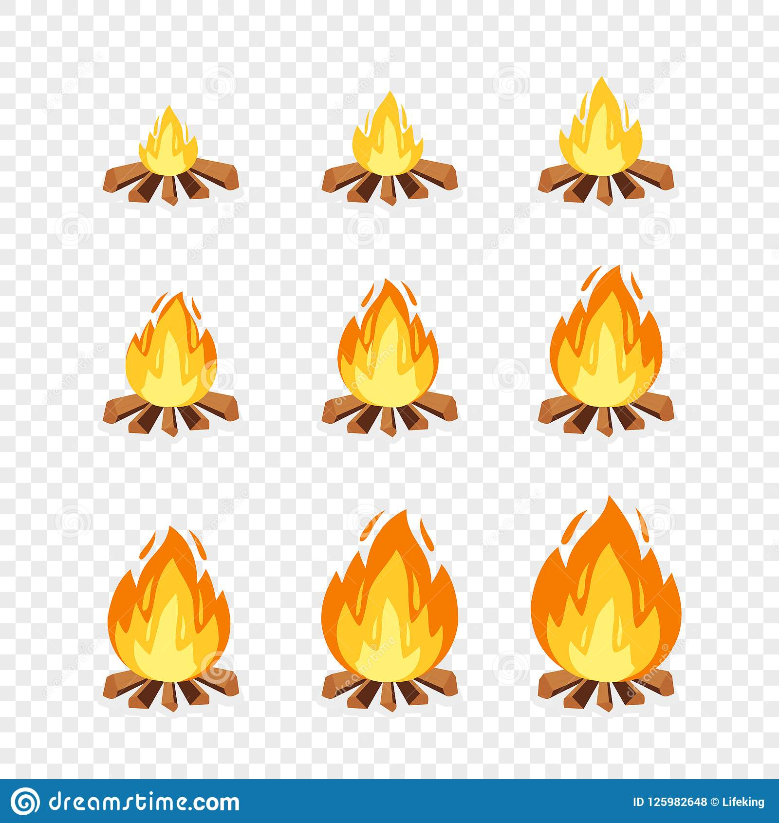 Set Of Camp Fire Sprites For Animation. Vector Cartoon Illustration ...