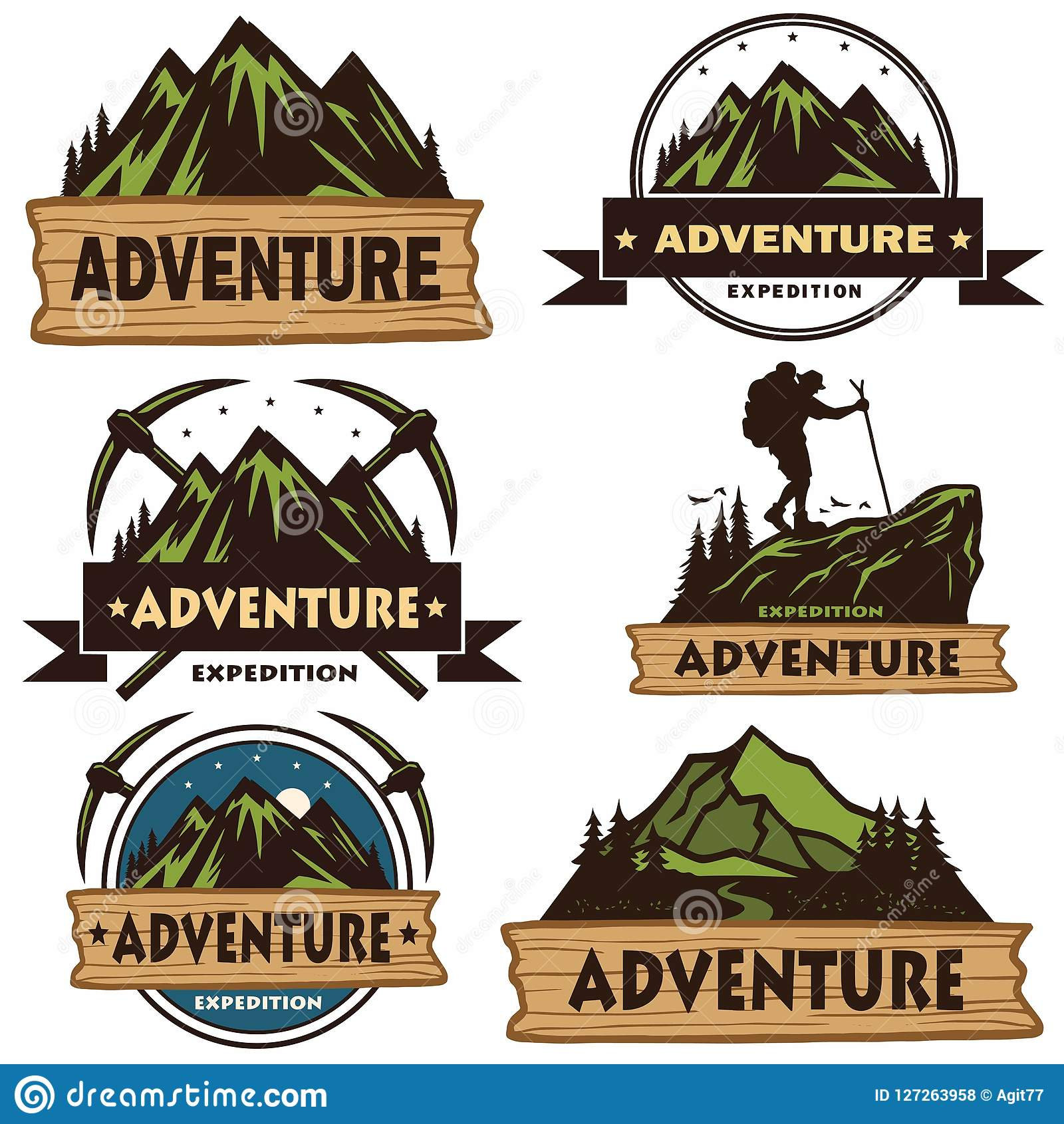 set of camping logos  templates  vector design elements  outdoor adventure mountains and forest