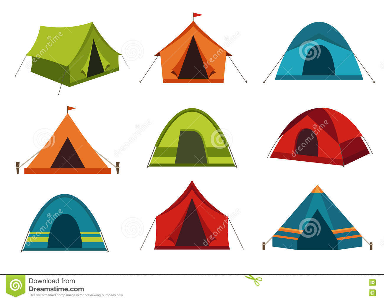 Set Of Camping Tent Vector Icons On White Background