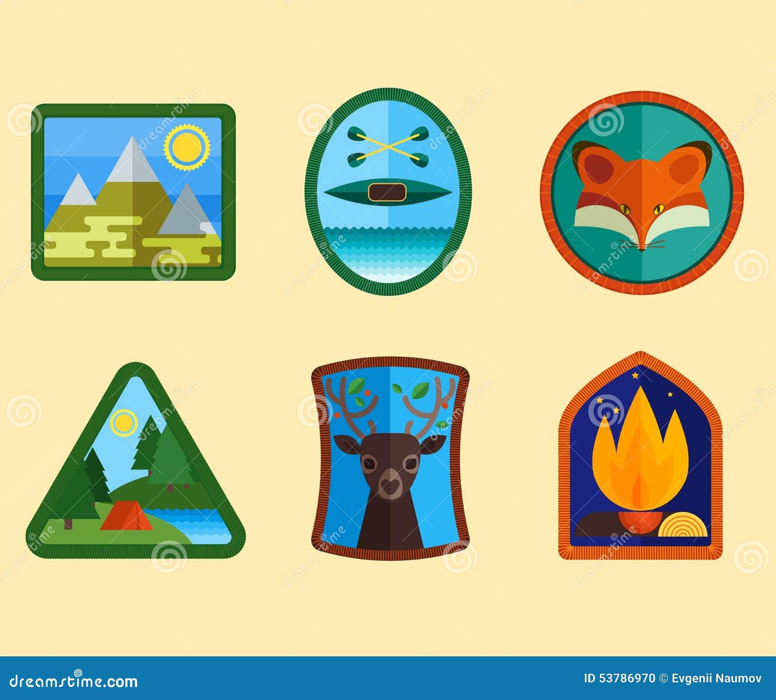 Set Campingowi wyposażenie symbole