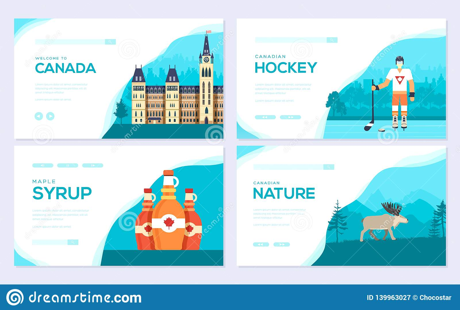 Set Of Canada Country Brochure Cards Set  Traditional