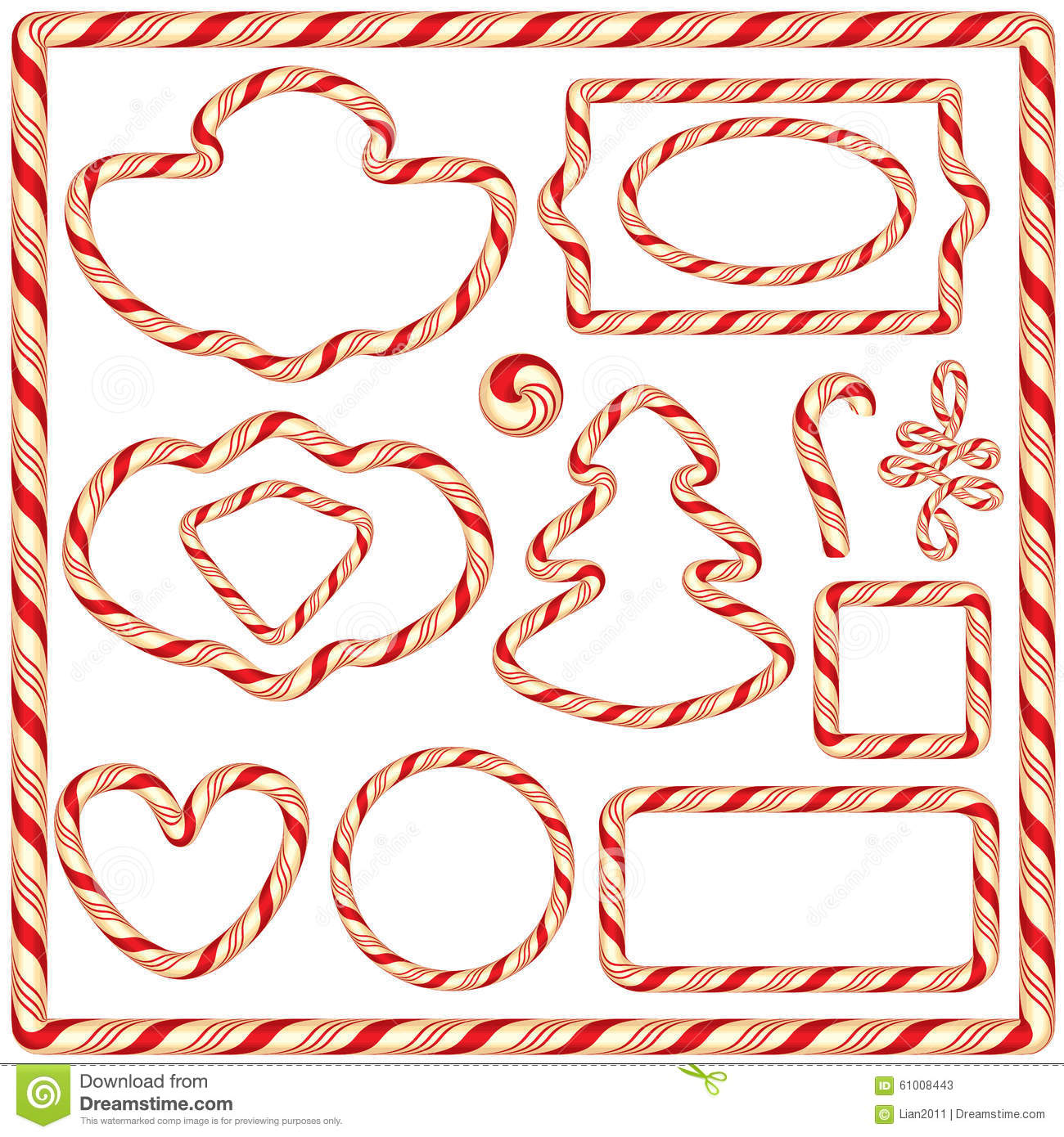 Set of Candy frames and borders, elements for winter holidays design ...