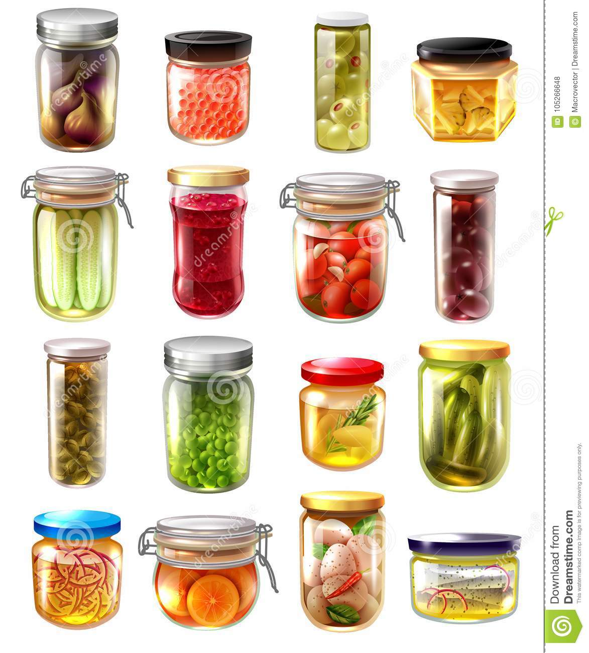 Canned Food Set Stock Vector Illustration Of Berry 105266648