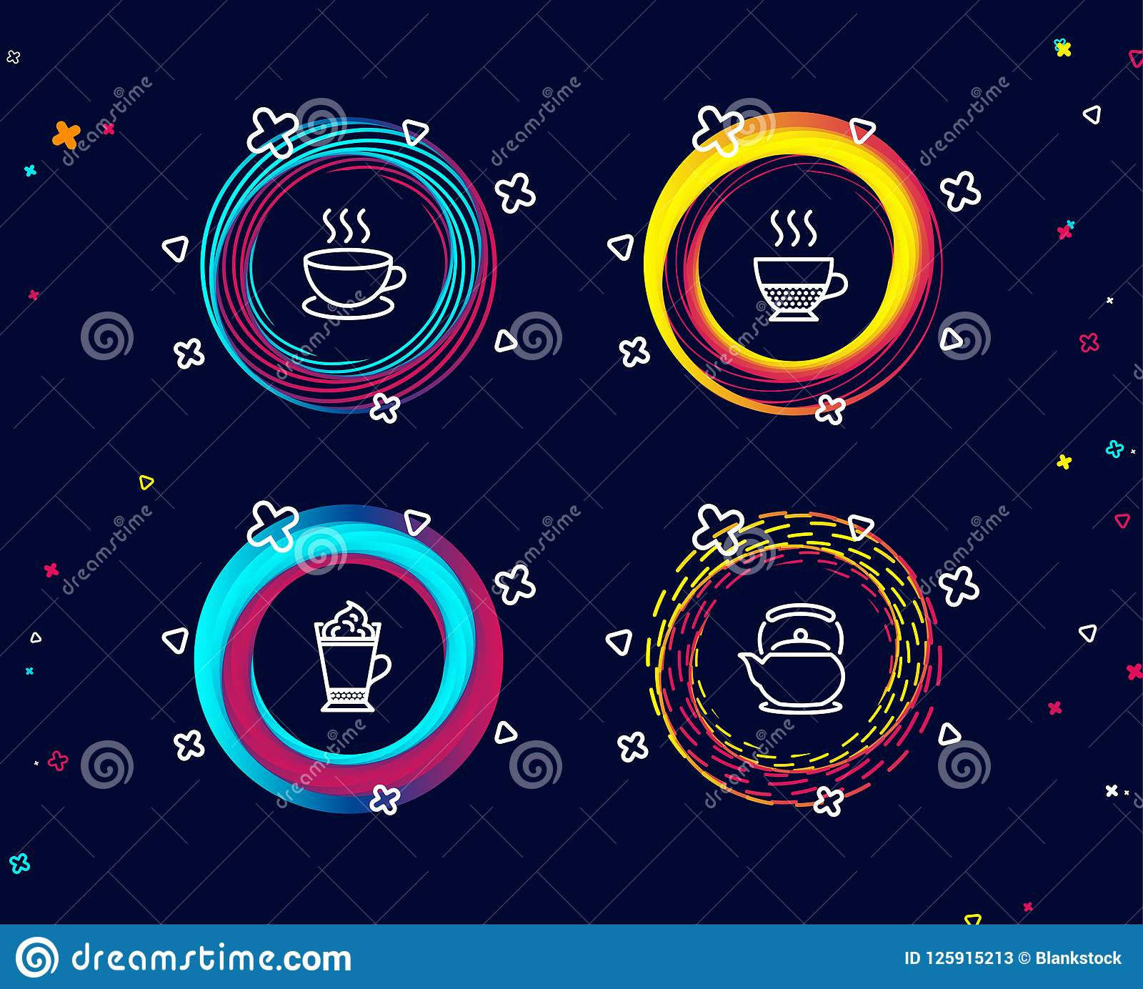 Cappuccino, Latte Coffee And Doppio Icons. Teapot Sign