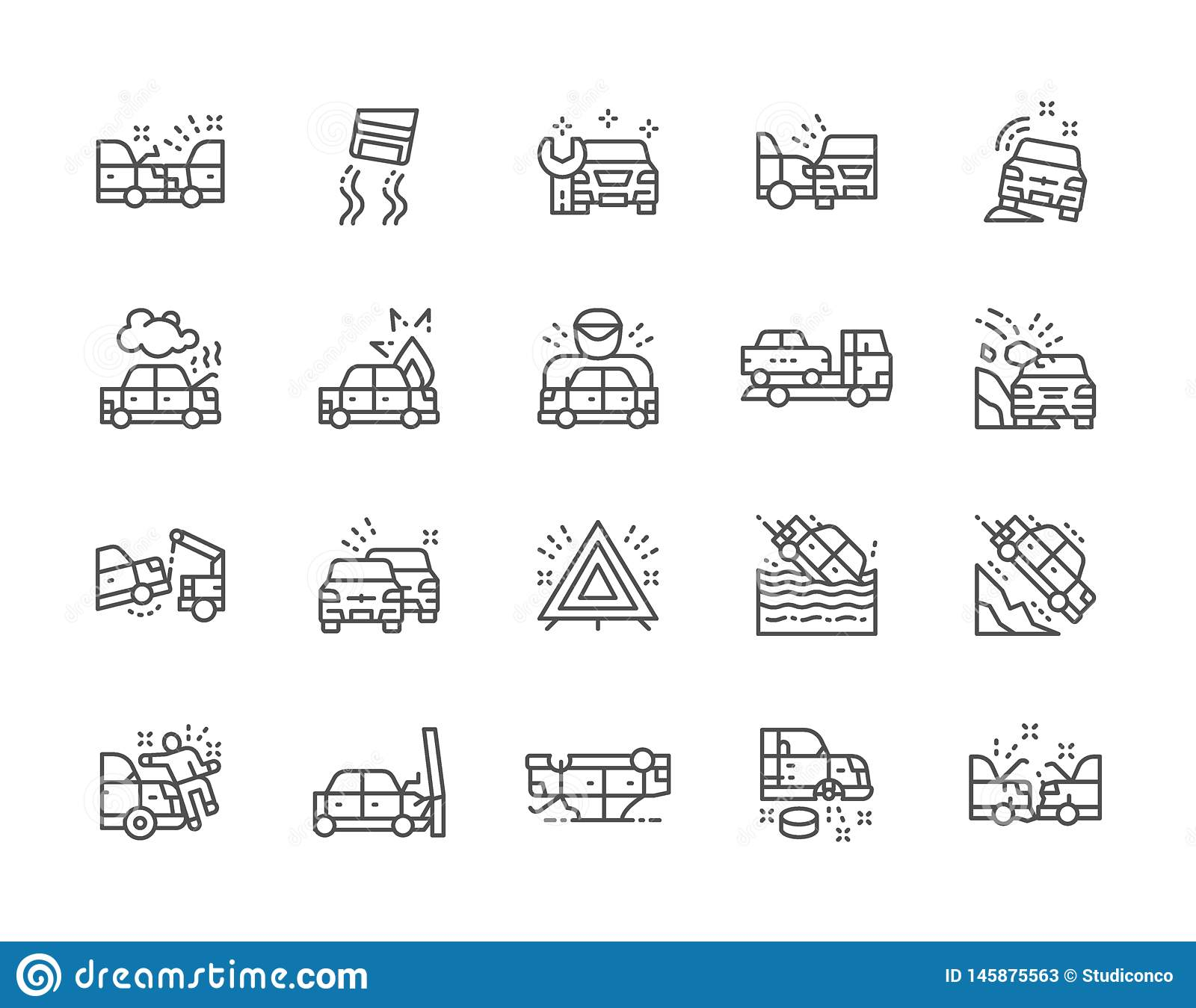 Set of Car Accidents Line Icons. Car Station, Evacuation, Traffic Jam and more.
