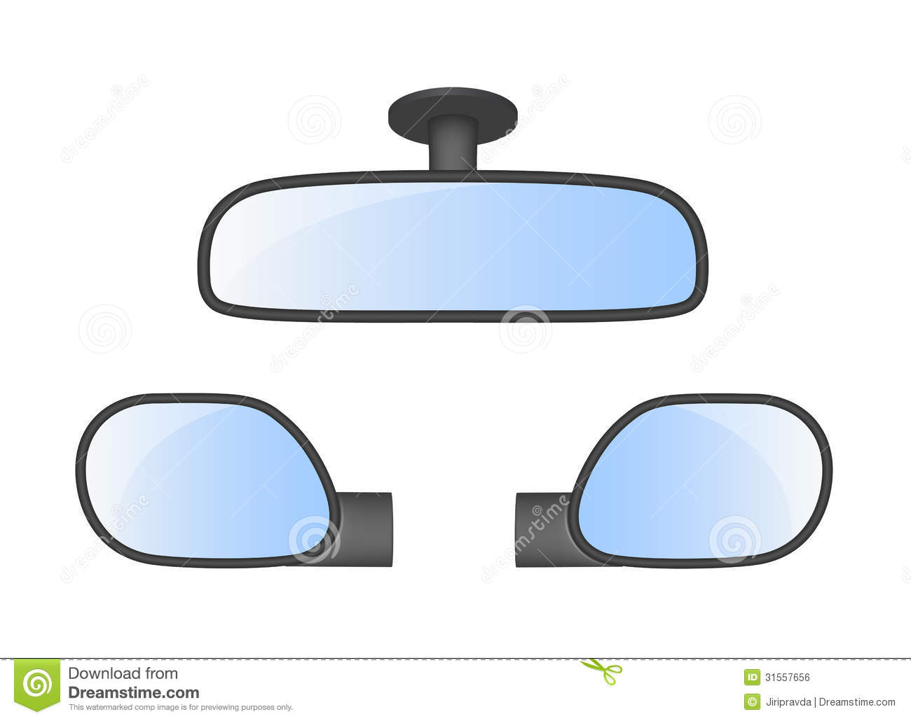 Set Of Car Rear View Mirrors Stock Vector Illustration