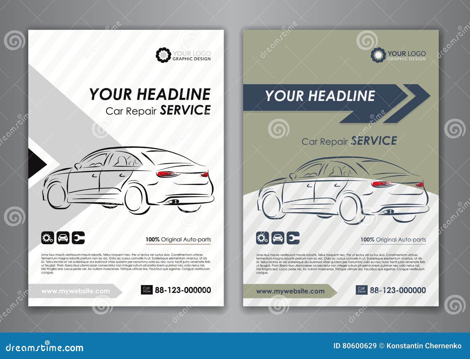 A5, A4 Set Car Repair Service Business Card Templates. Auto Repair ...