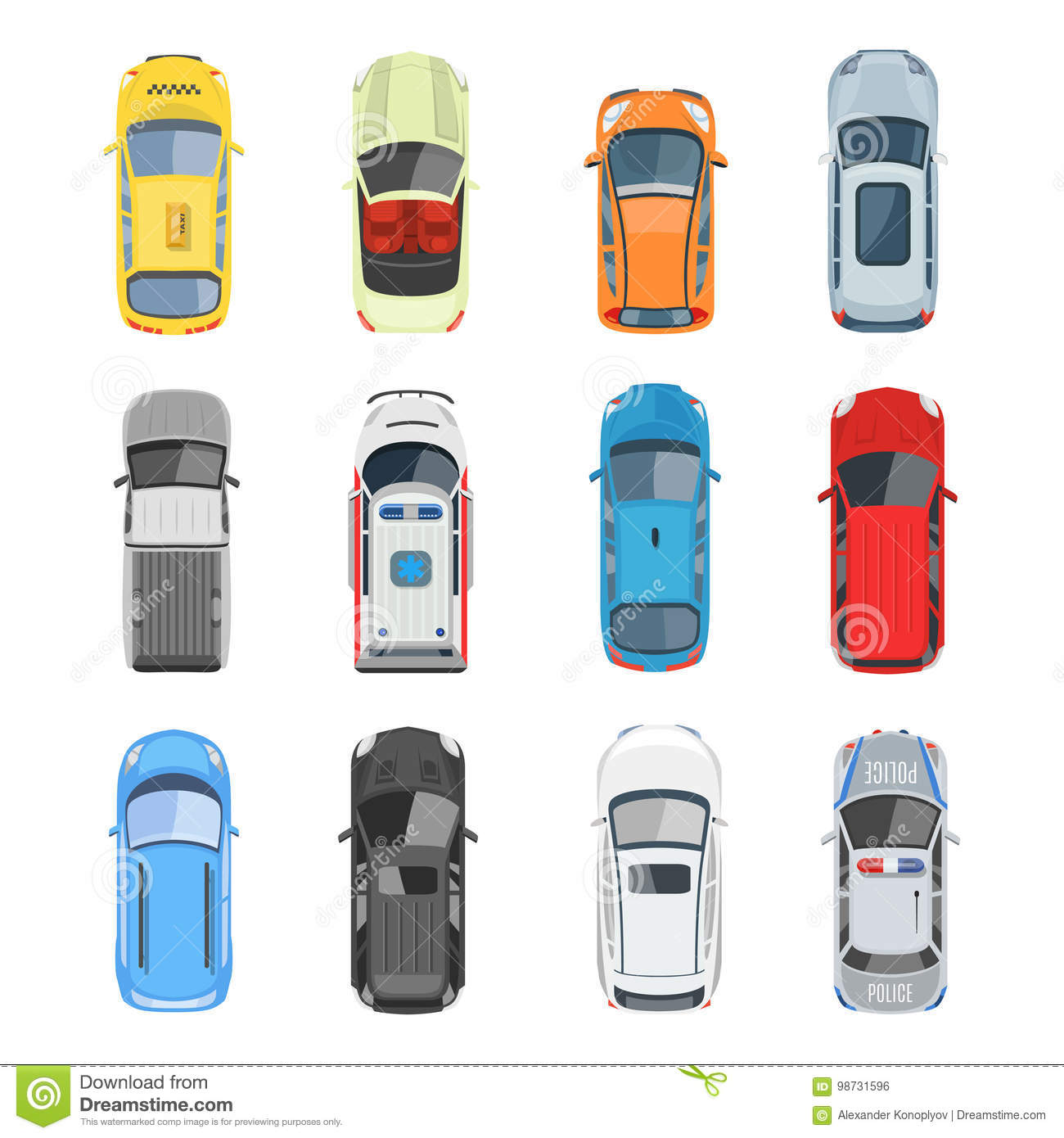 Cars Collection In Top View: Set Of Car Top View Vector Set Stock Vector