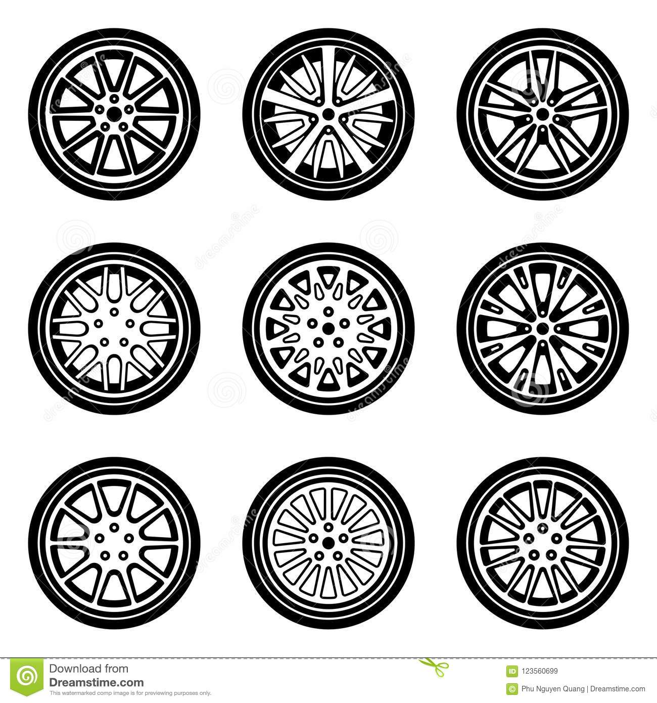 Set Of Car Wheel Icons Tyre And Rim Silhouette Vector Stock Vector
