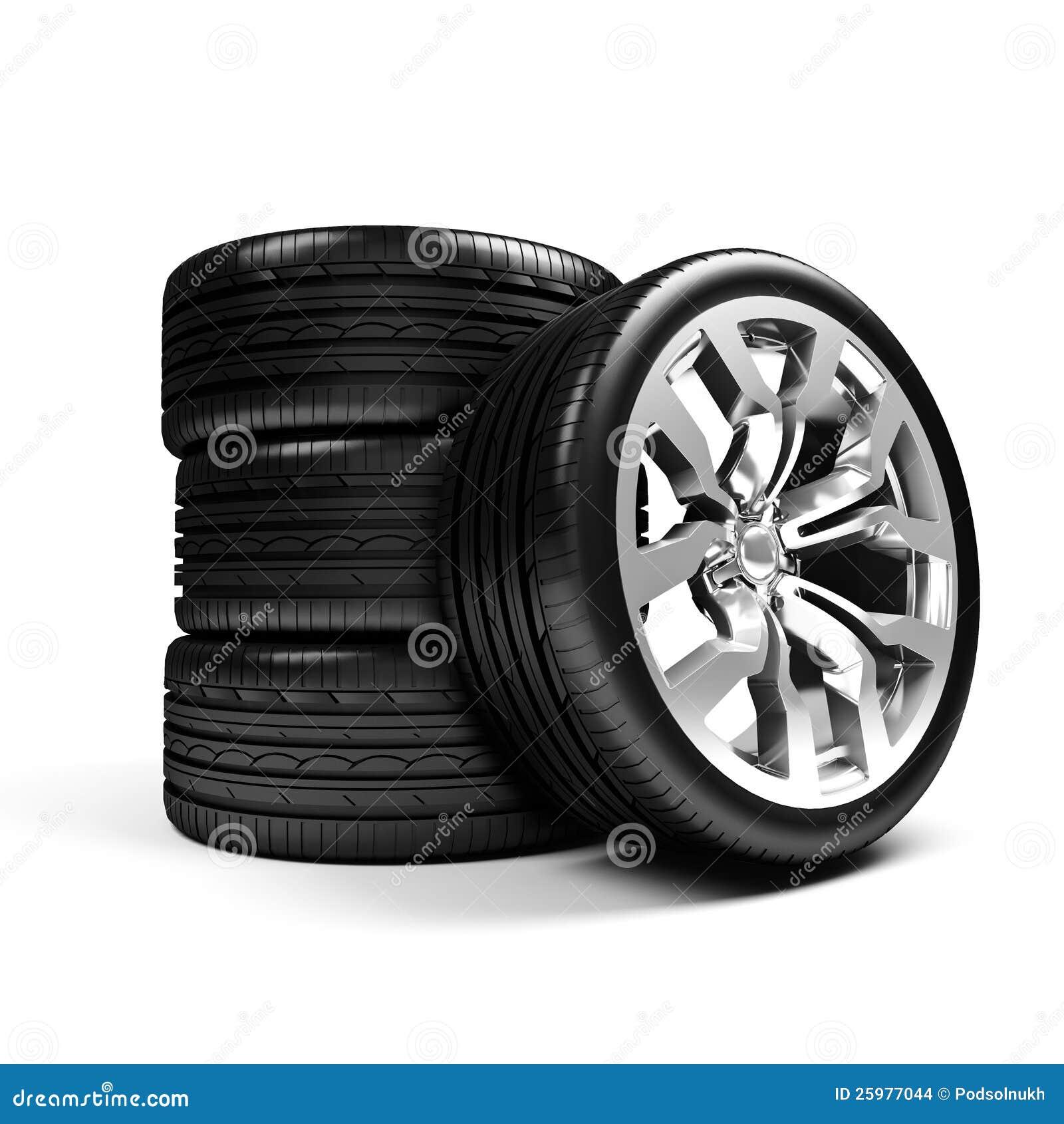 Set of car wheels over white