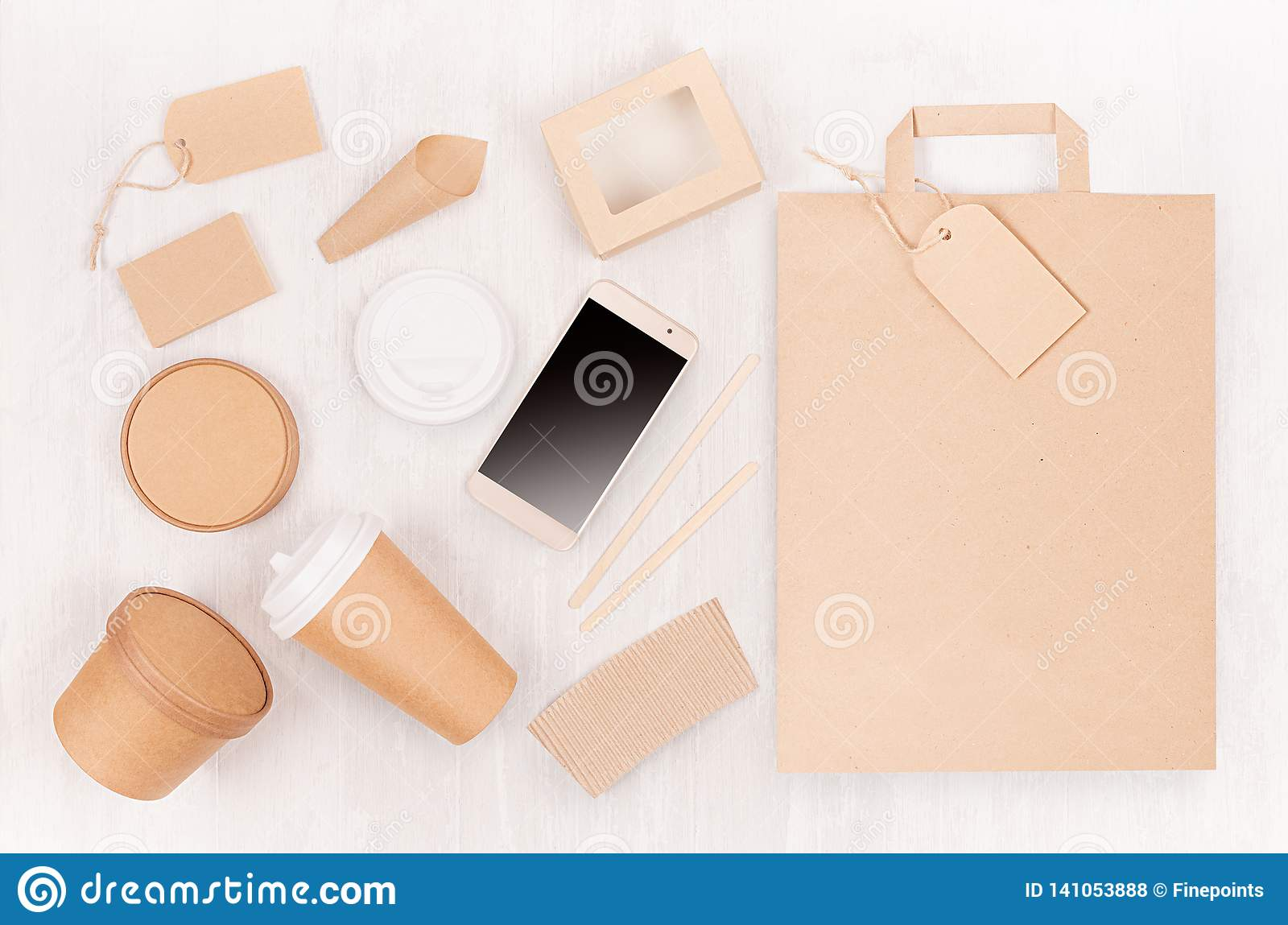Set of cardboard package for different fast food for advertising, menu, banding identity - blank phone, bag, card, label, cup, box