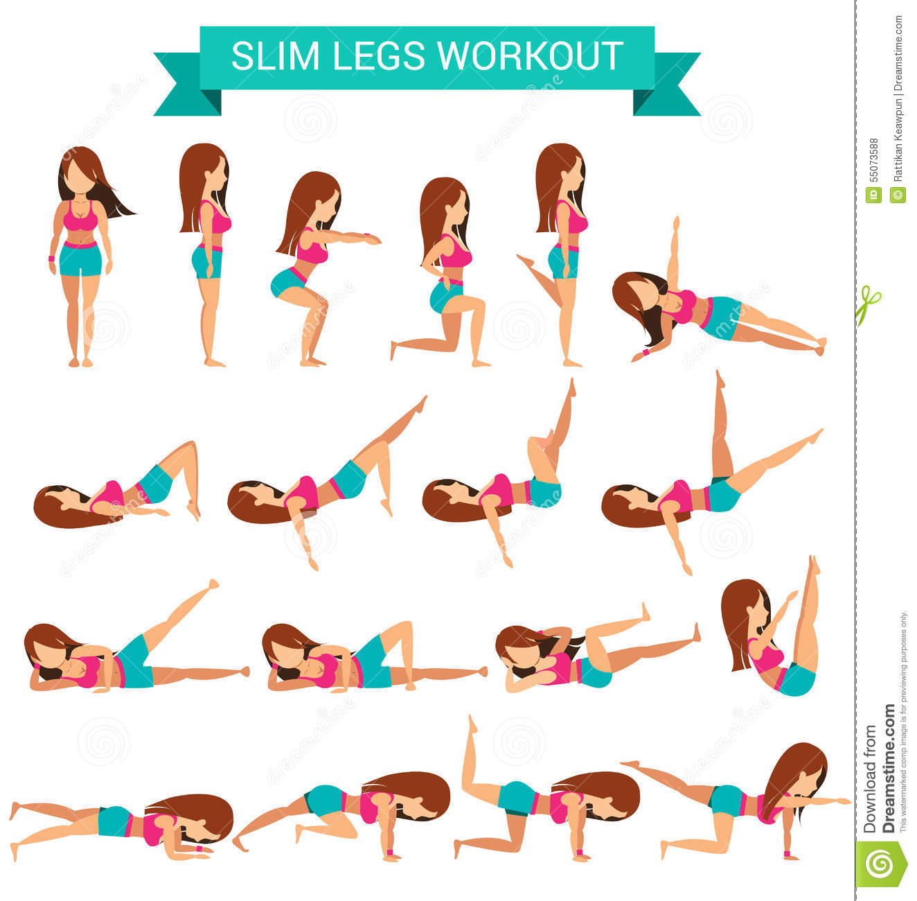 Set Of Cardio Exercise For Slim Legs Workout Stock Vector ...