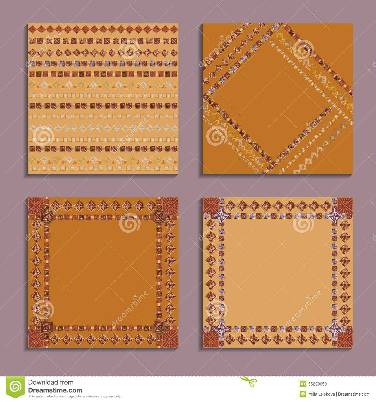 How to scrapbook wedding cards - Set Of Cards With Ethnic Design Templates For Invitation Scrapbook Or Wedding Card
