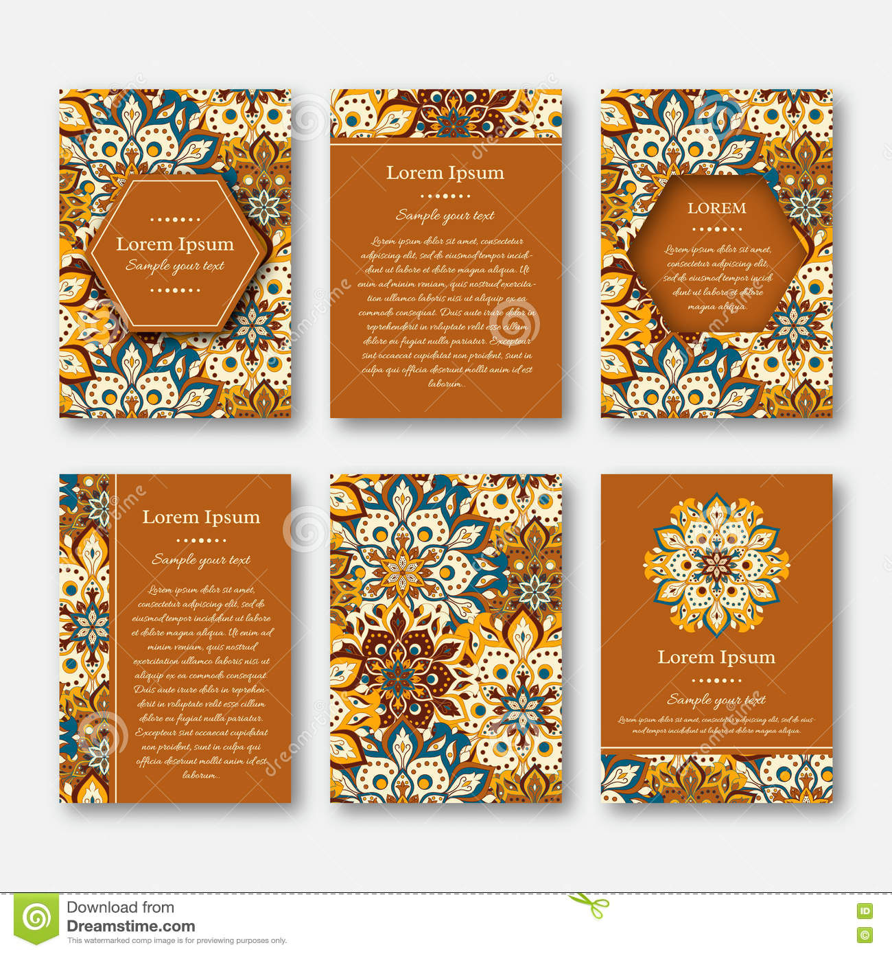 set of cards flyers brochures templates with hand drawn manda