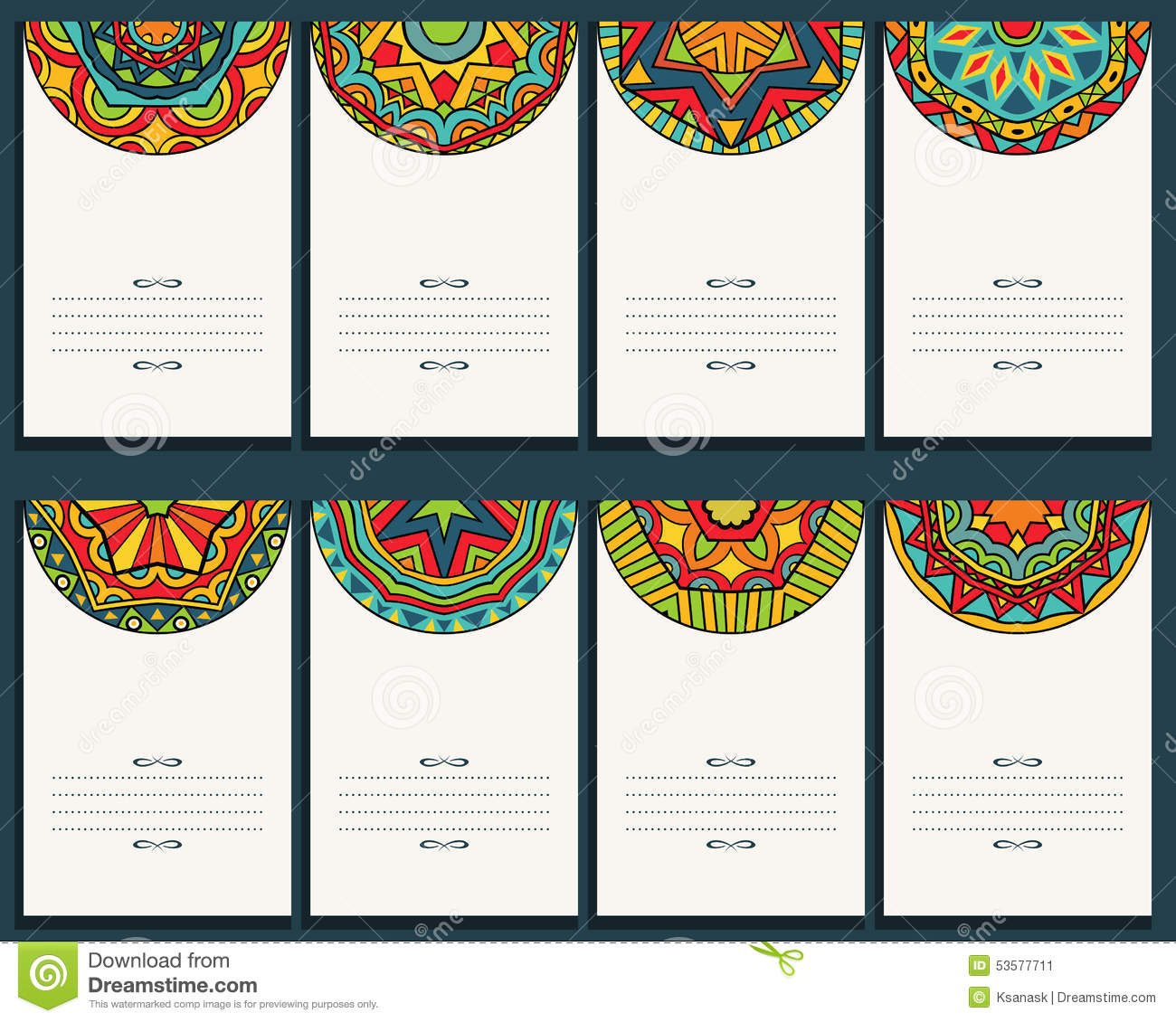 Batik pattern background in vector royalty free stock photos image - Set Of 8 Cards With Mexican Ornaments Stock Vector Image