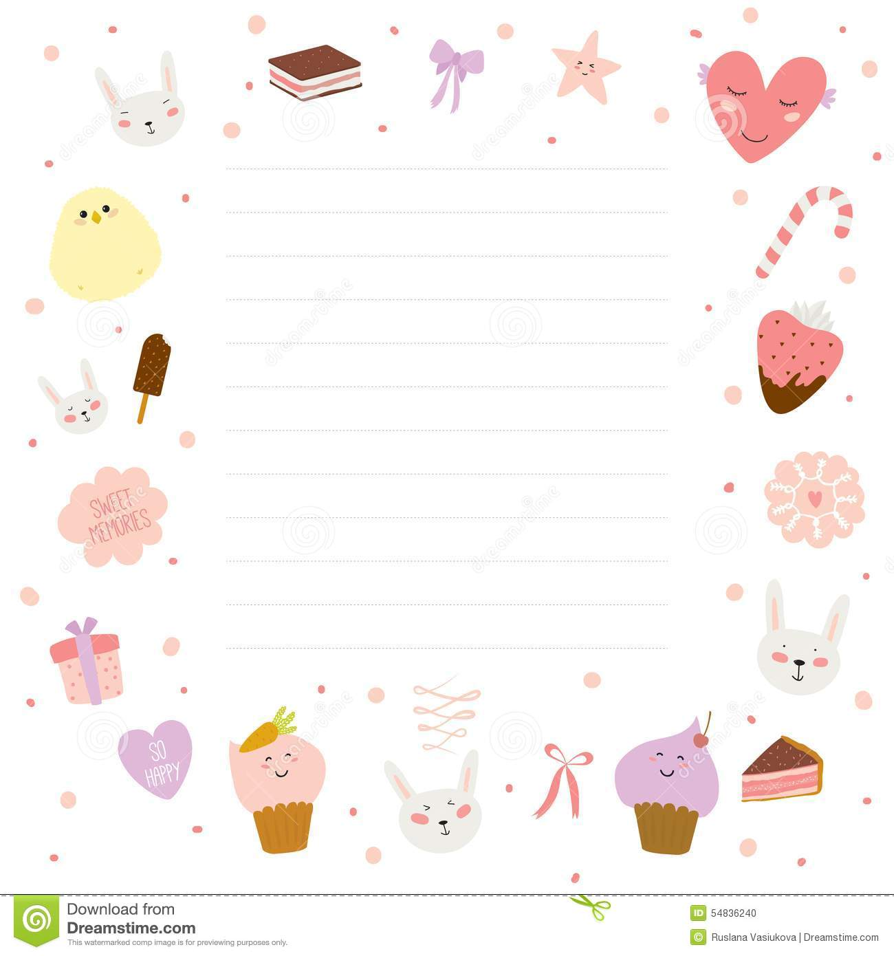 ... Of Cards, Notes And Stickers With Cute Stock Vector - Image: 54836240