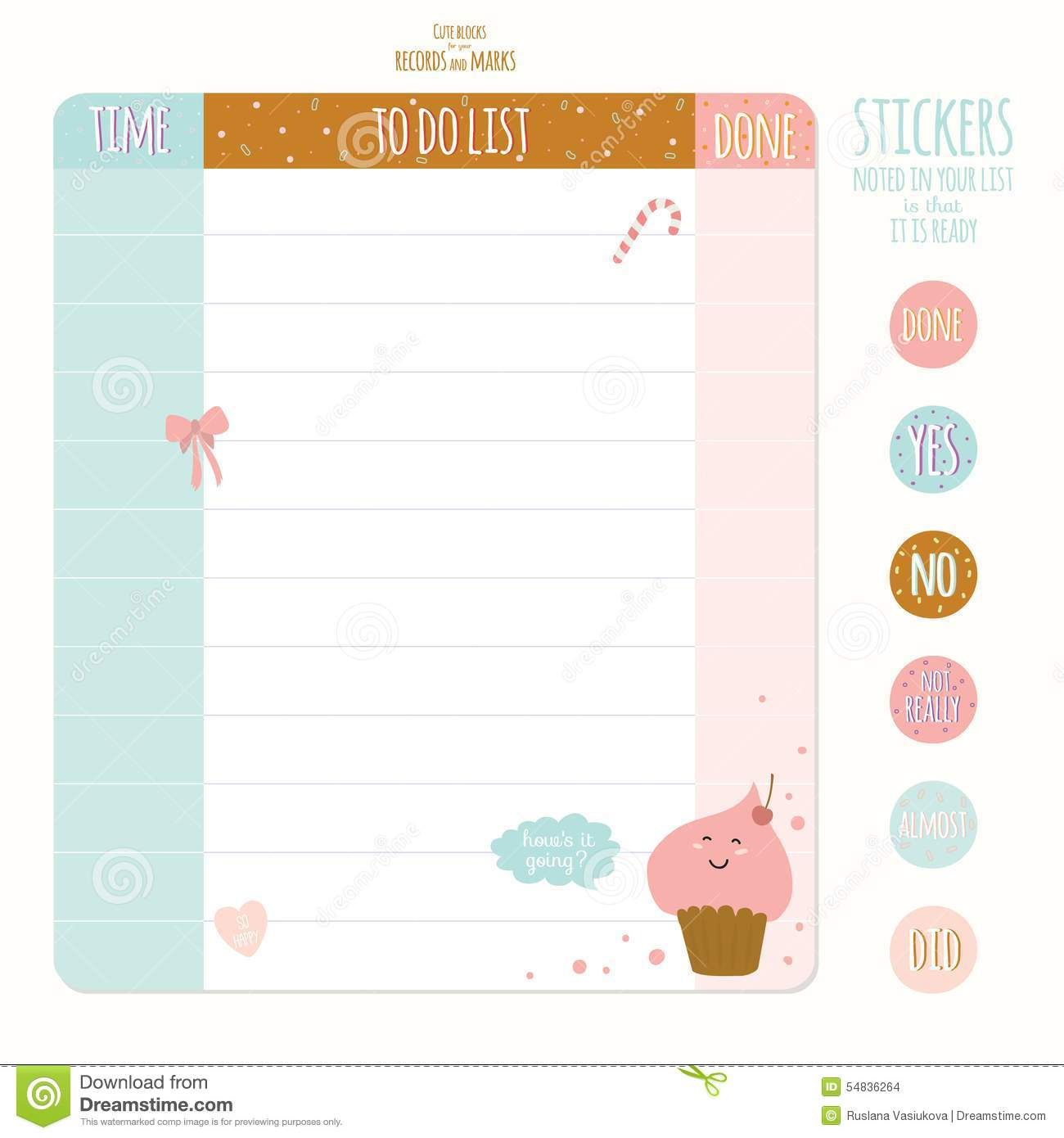 Set Of Cards, Notes And Stickers With Cute Stock Vector ...