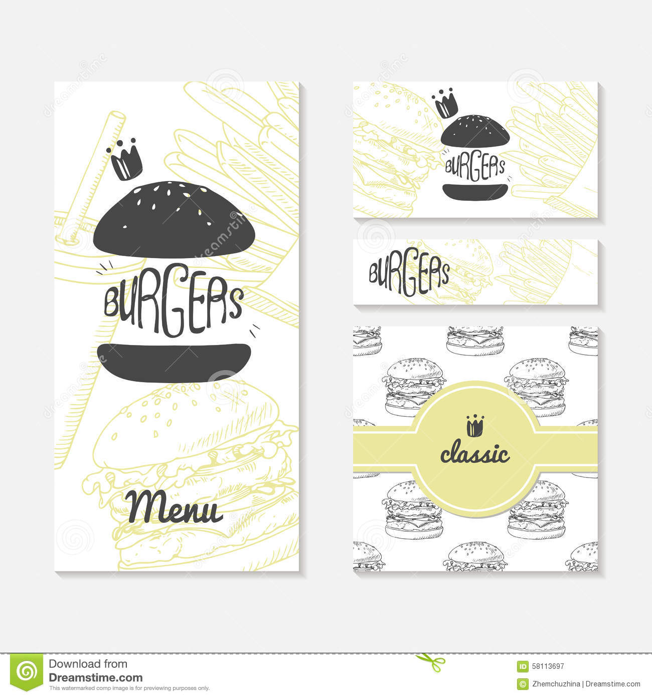 Set Of Cards With Sketched Burger Fast Food Branding