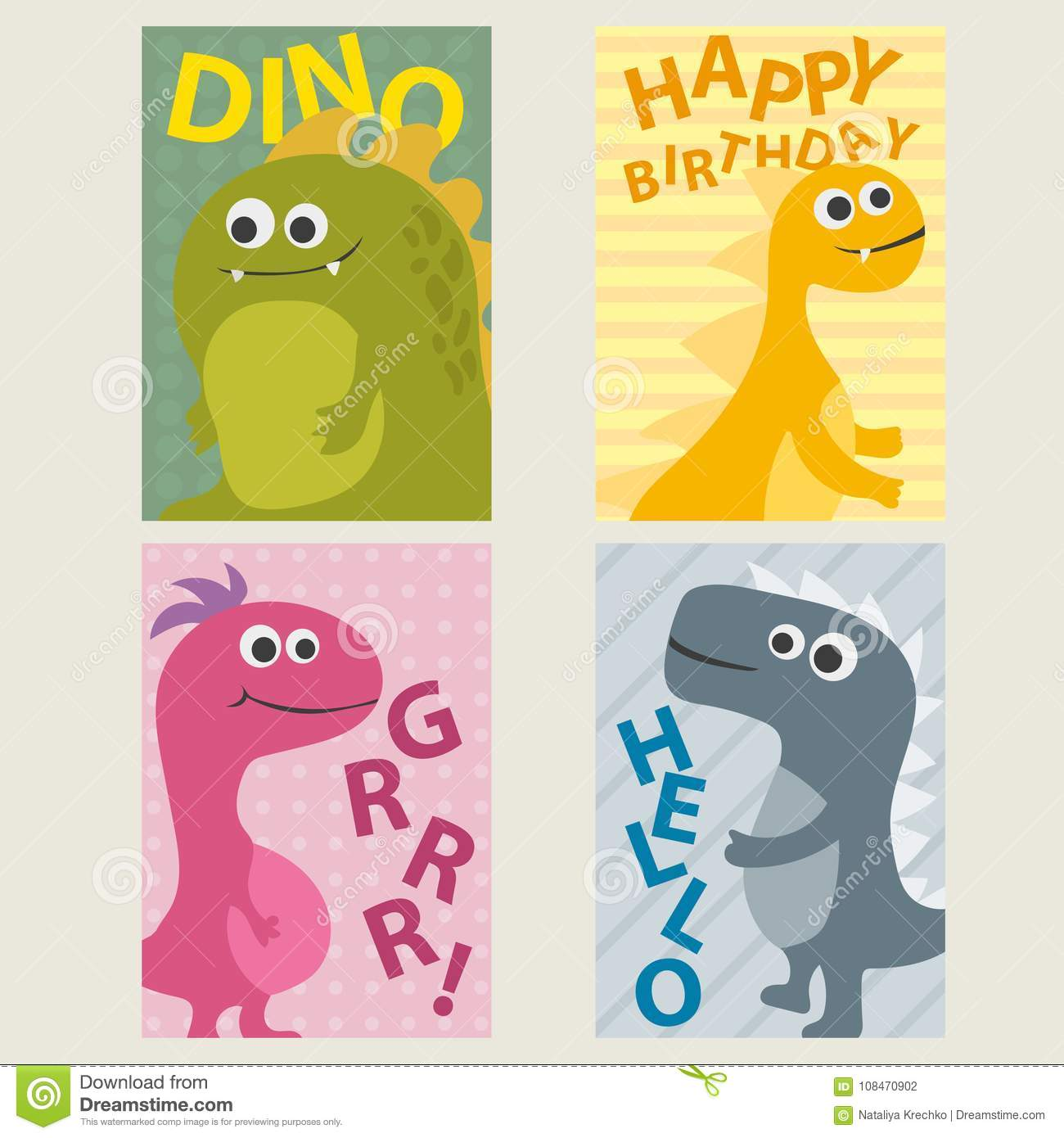 Set Of 4 Cards Templates With Dinosaurs For Birthday Invitations