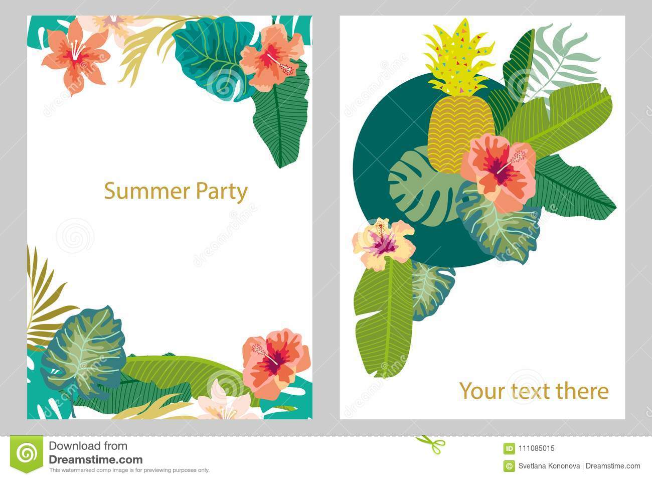 Set of cards with tropical plants palm and banana leaves fruits download set of cards with tropical plants palm and banana leaves fruits flowers izmirmasajfo