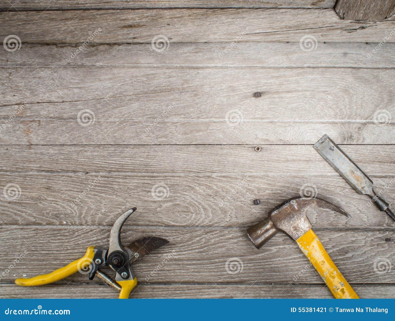 Set Of Carpenter Tools On Wooden Background Frame Stock ...