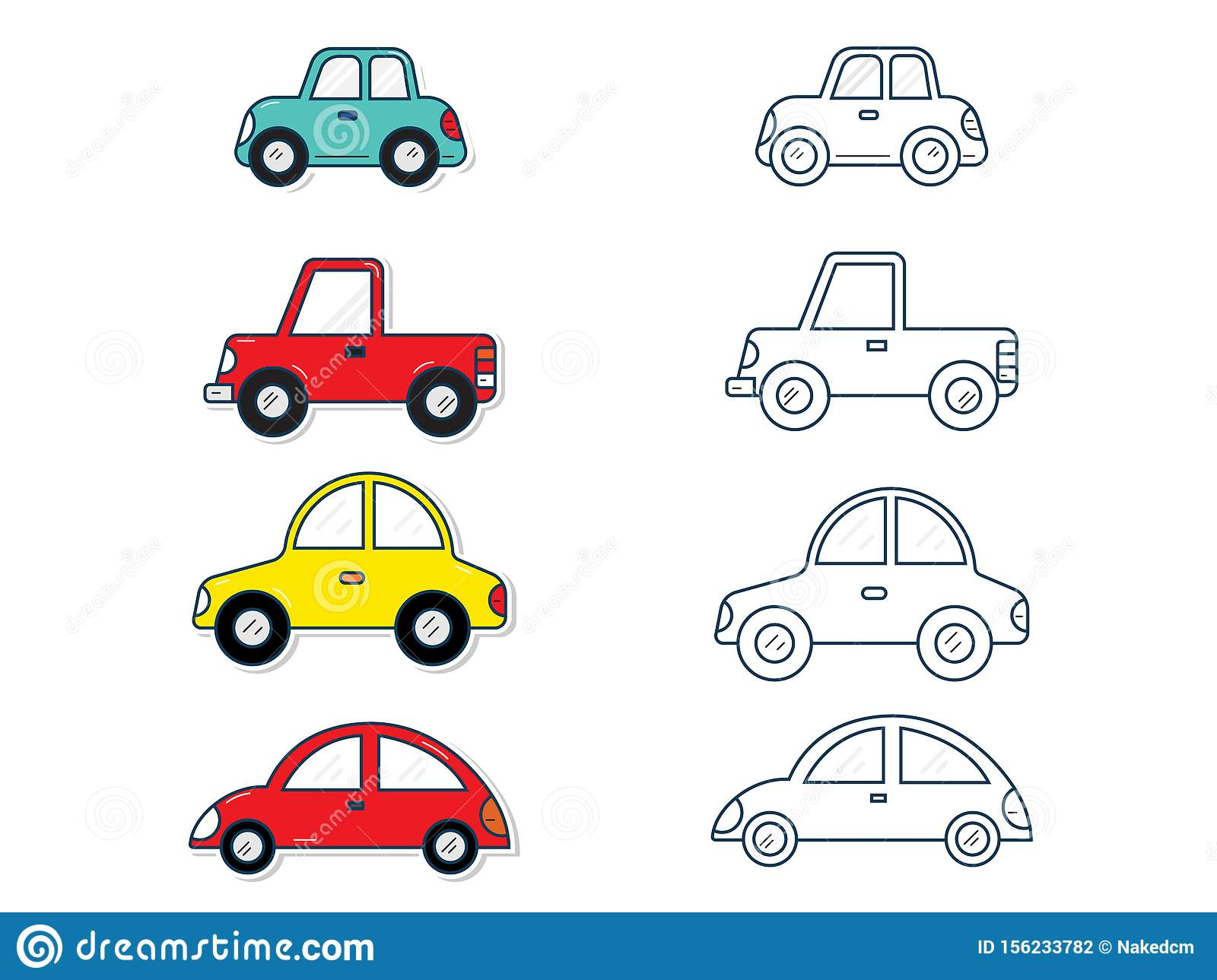 Set of cars for kids stock vector. Illustration of service - 156233782