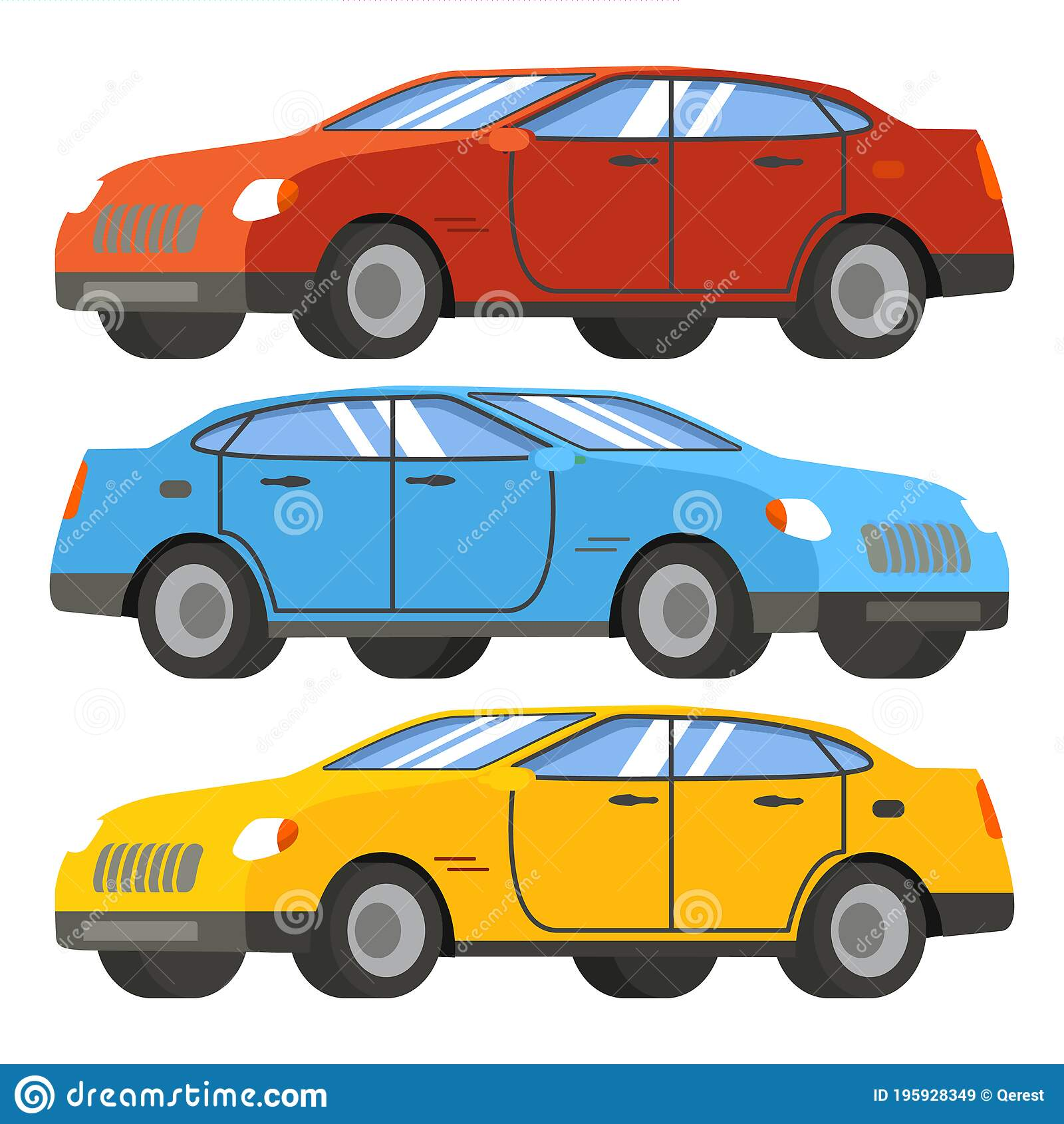Set Of Cars In Red Blue Yellow Modern Four Door Sedan Stock Vector Illustration Of Cityscape Classic 195928349