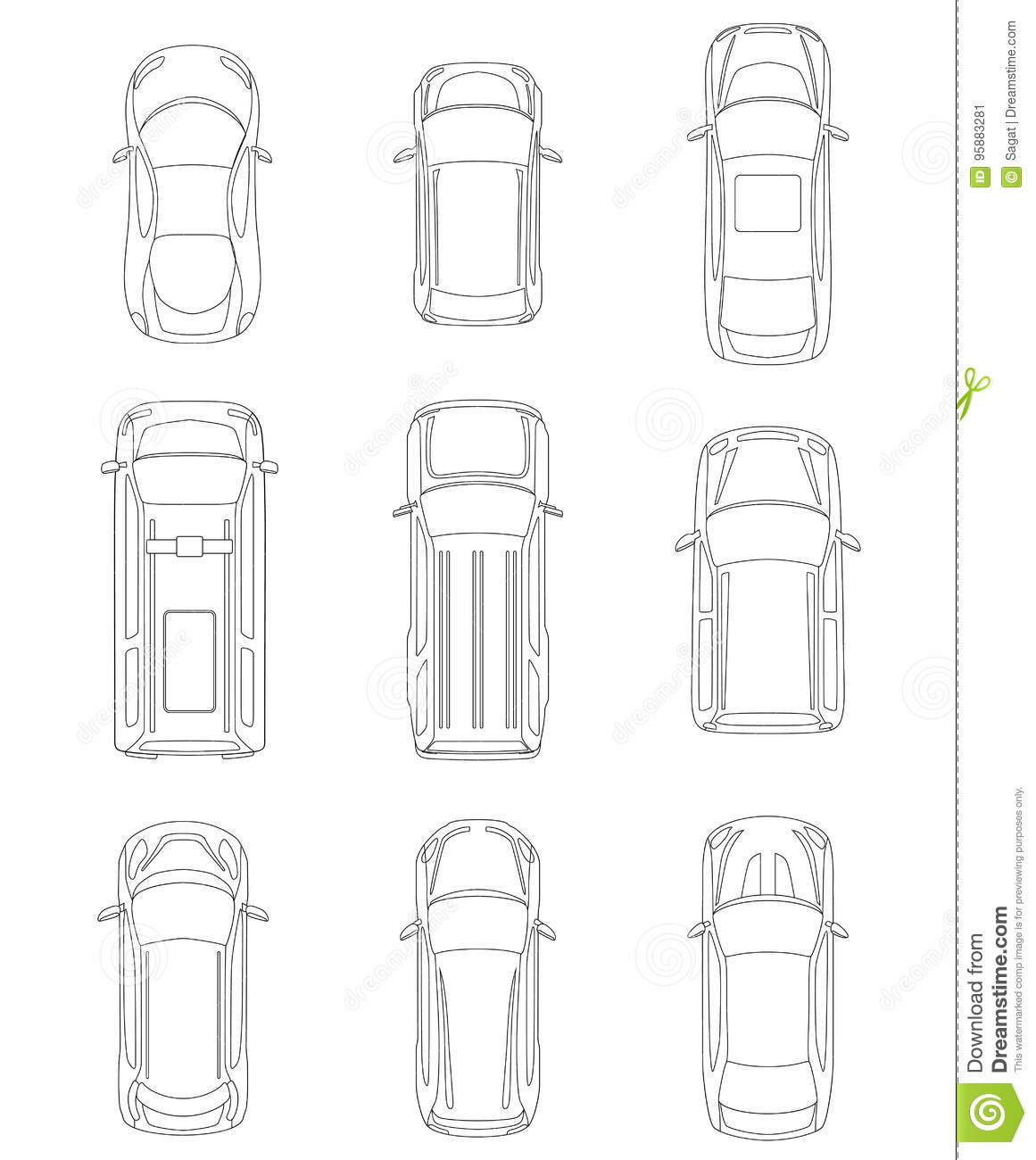 Set Of Cars Top View Stock Vector Illustration Of Automobile