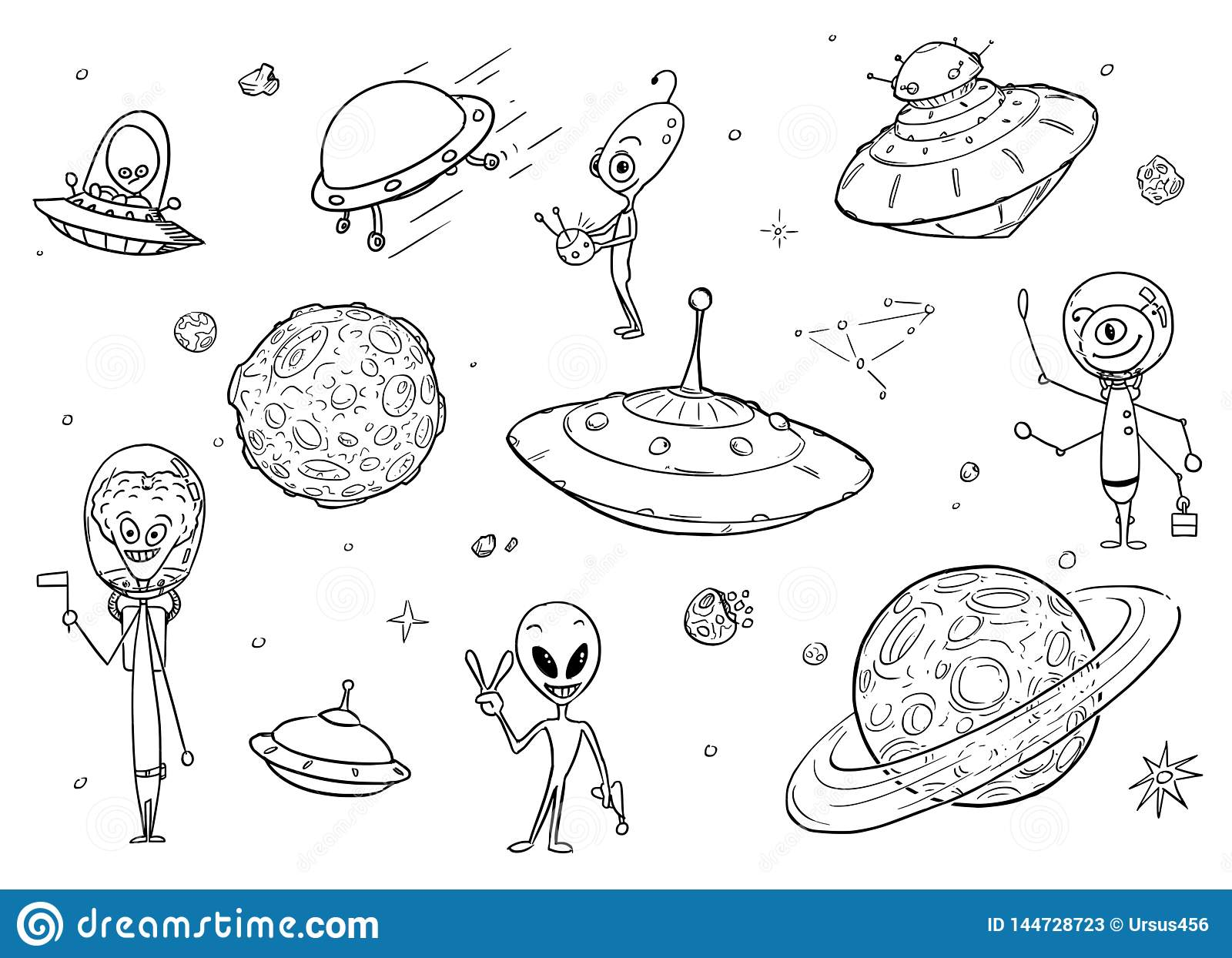 Set of cartoon vector drawings of friendly cartoon alien characters ufo space ships and planets