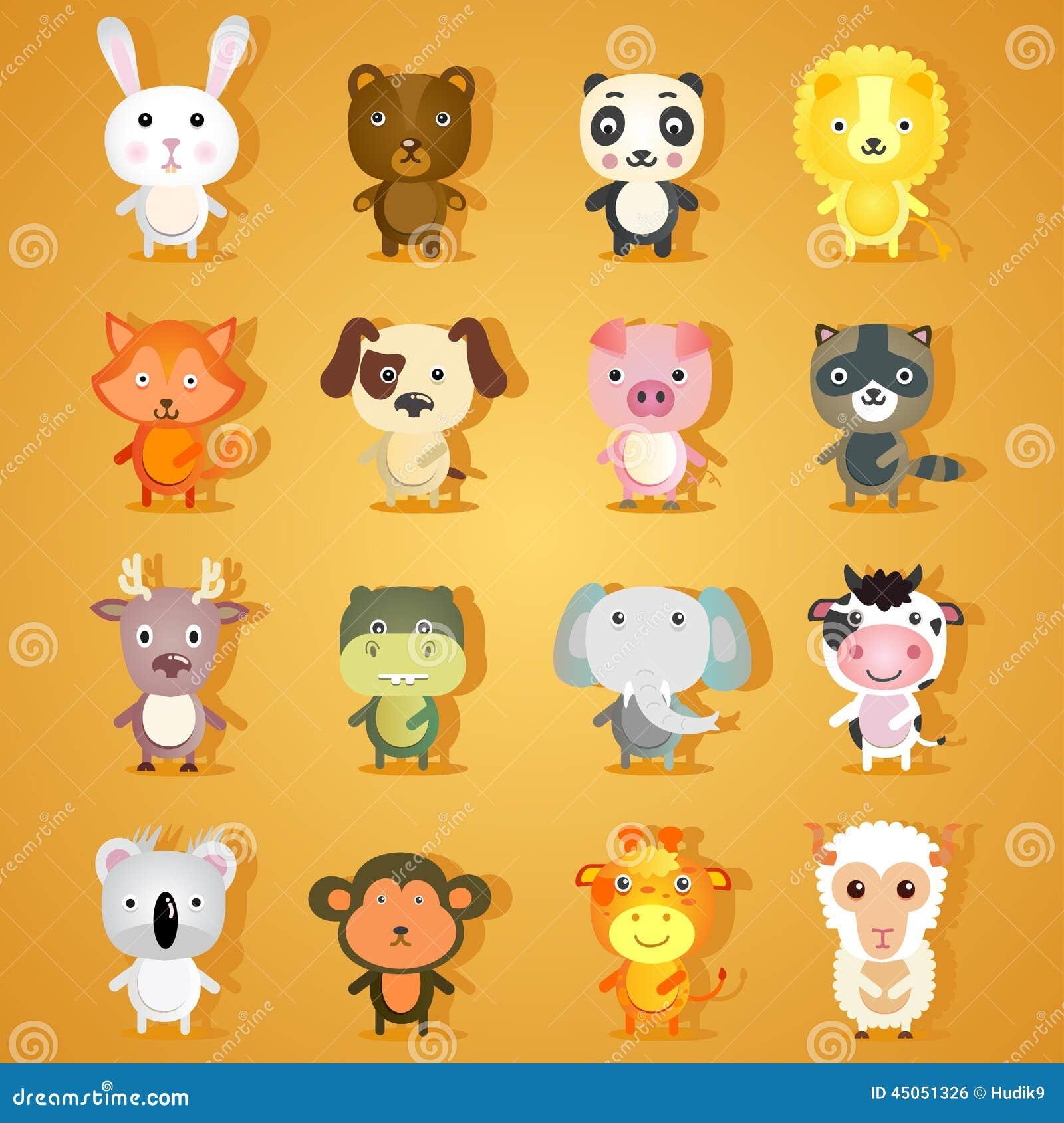 set of cartoon animal characters stock vector image. Black Bedroom Furniture Sets. Home Design Ideas