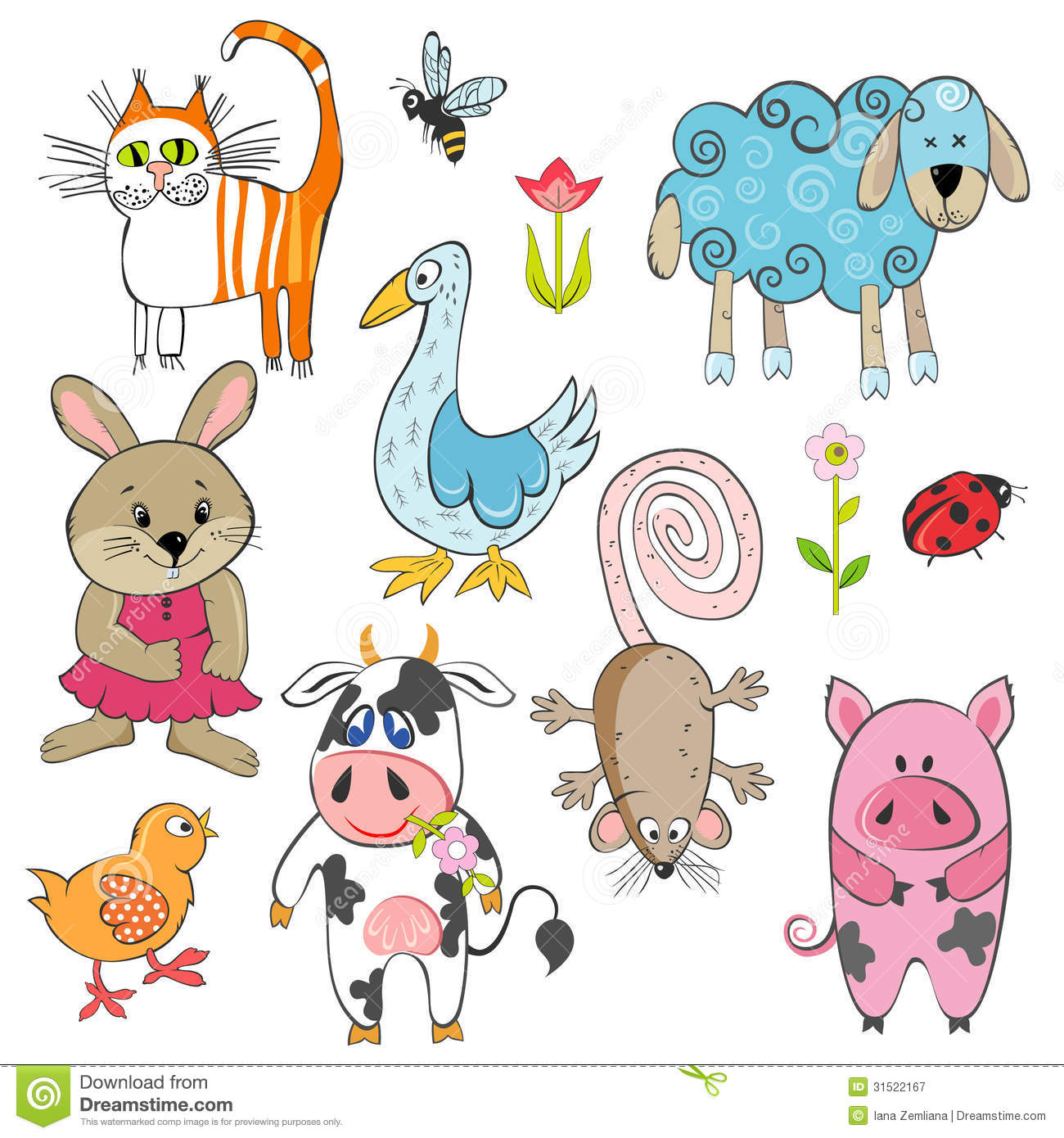 set cartoon animals farm 31522167