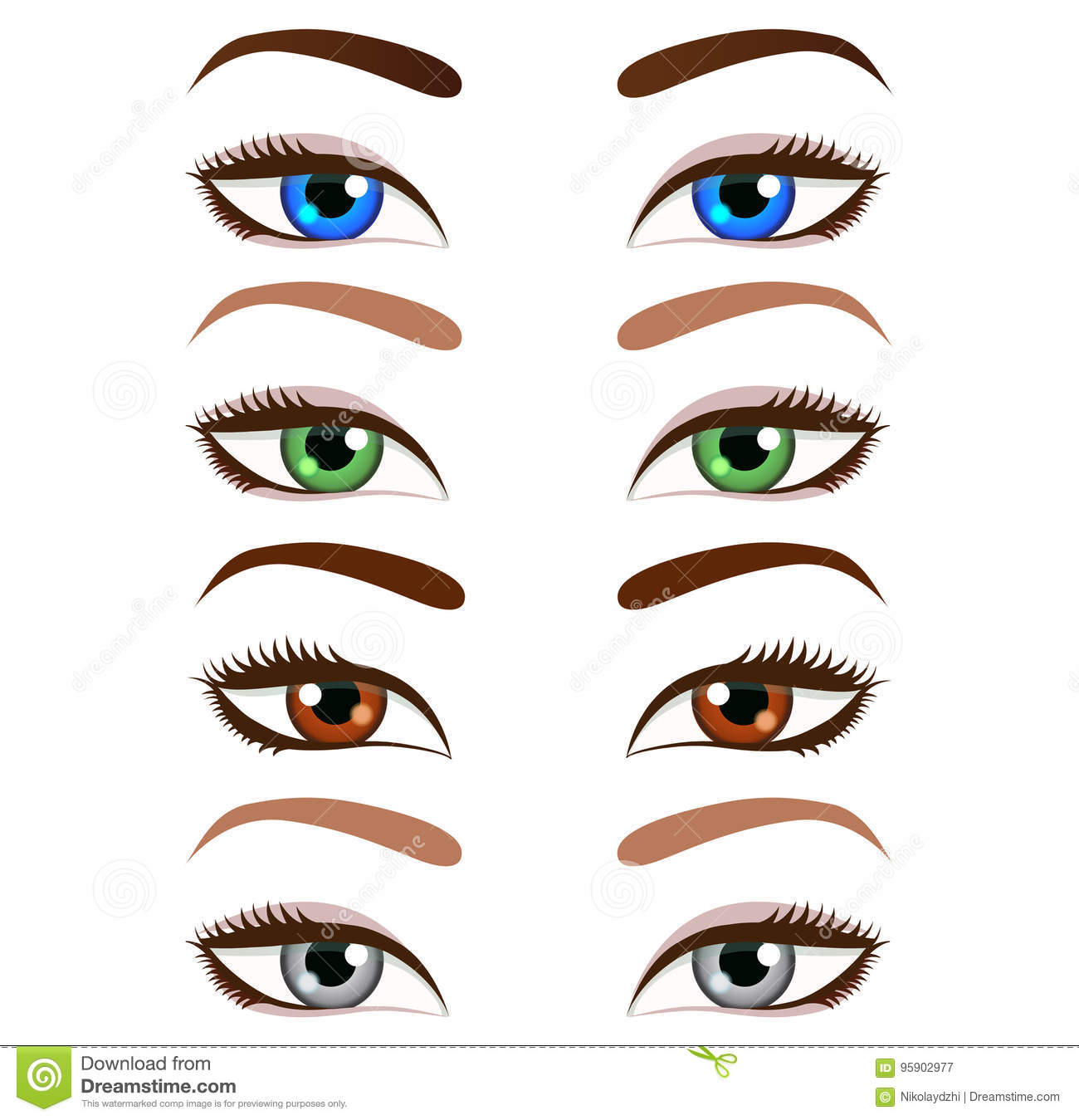 Set Of Cartoon Beautiful Women Eyes And Eyebrows Vector Illustr