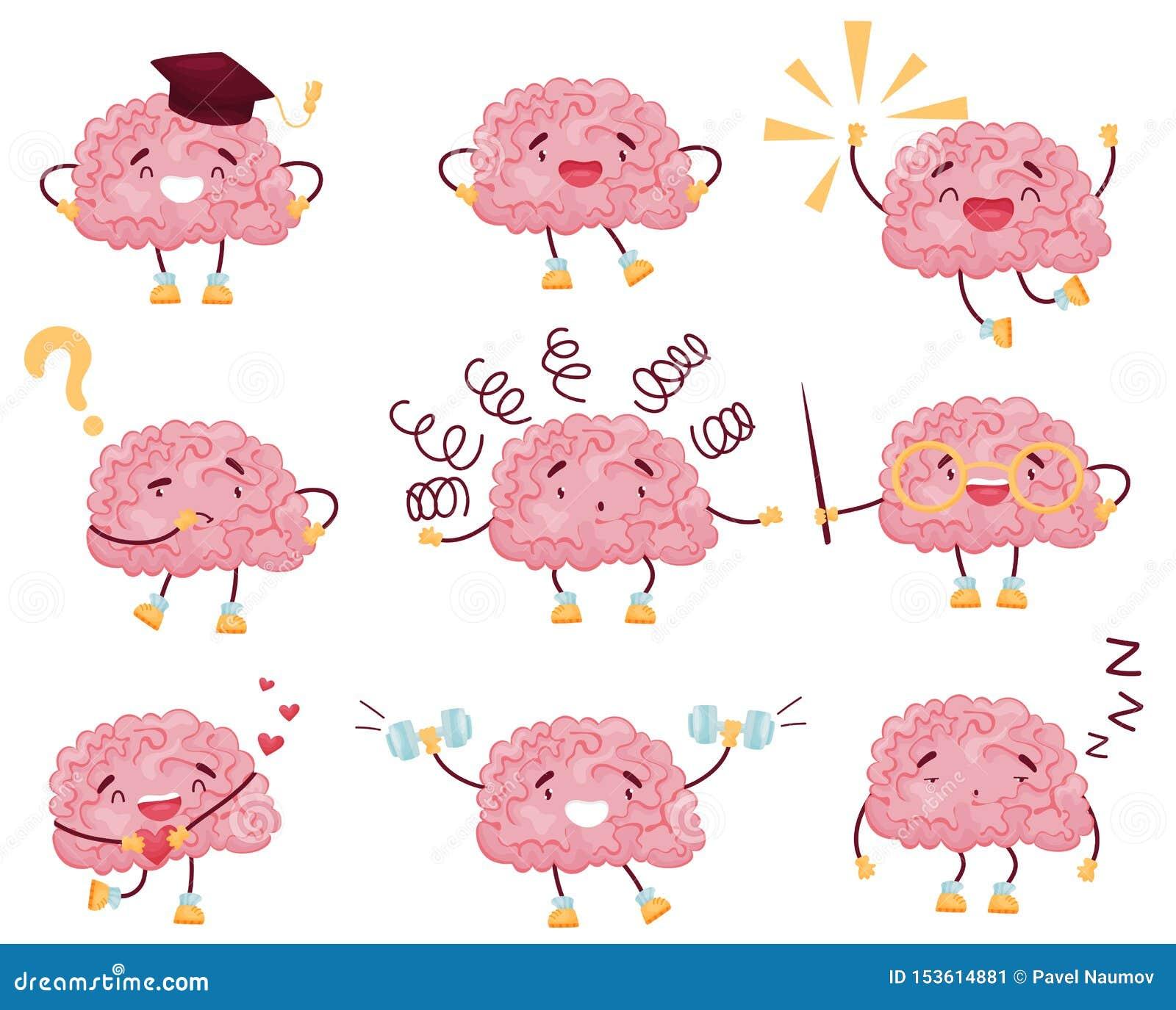 Set of cartoon brain images. Vector illustration on white background.