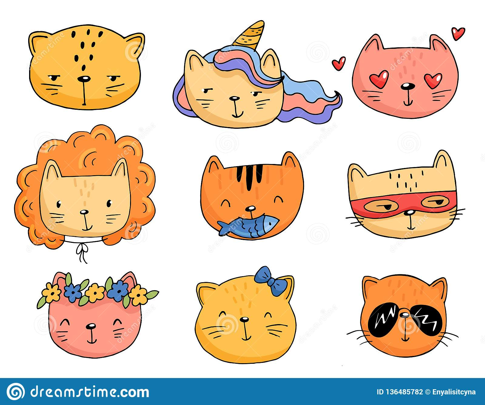 Set Of Cartoon Cats In Funny Clothes Stock Vector Illustration Of Kawaii Collection 136485782