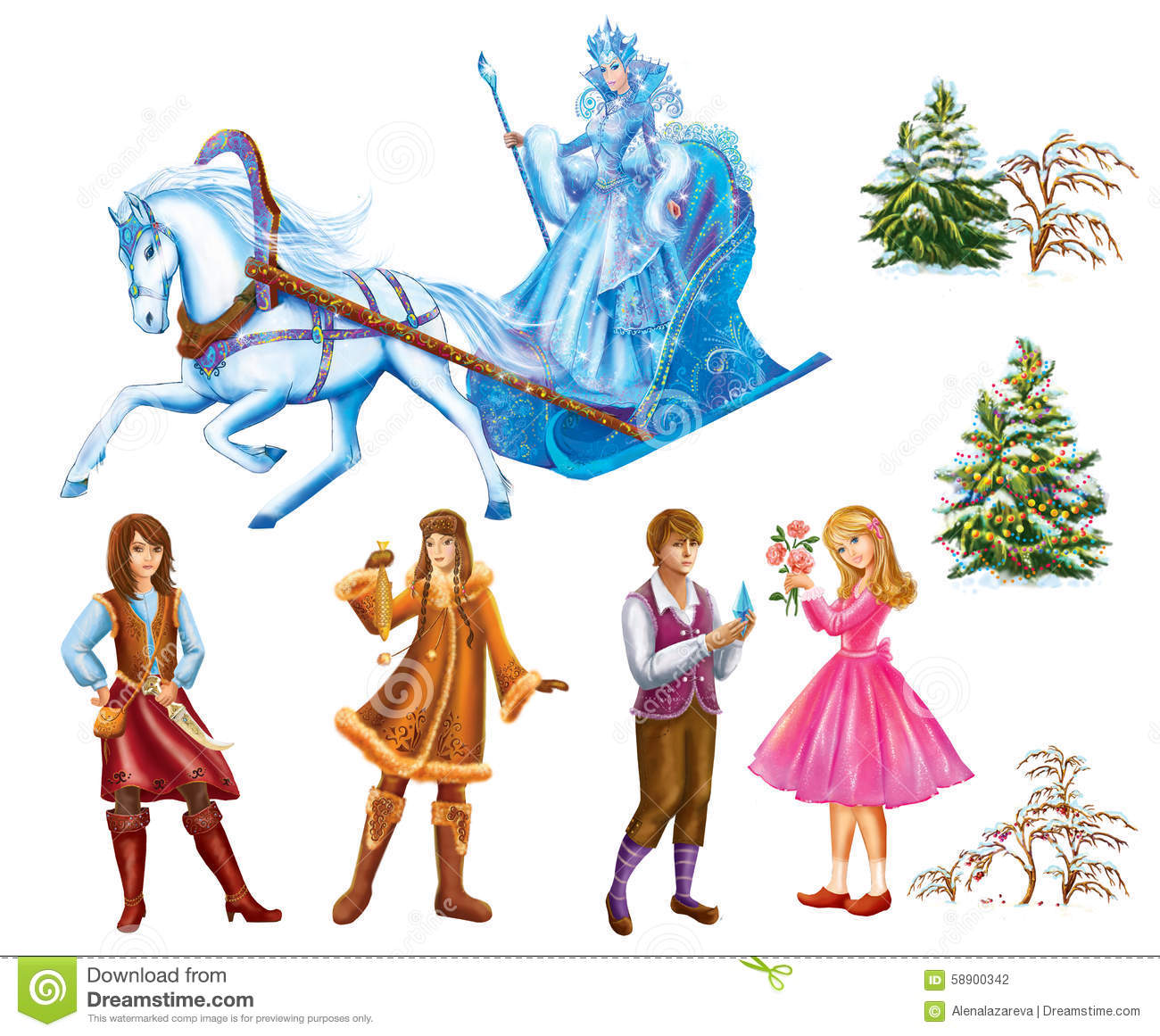 Set cartoon Characters Gerda , Kai , Lappish Womanand trees for fairy tale Snow Queen written by Hans Christian Andersen