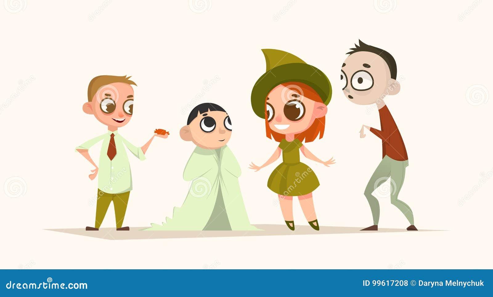 Set of cartoon characters kids. Halloween set. Vector illustration. Holiday.