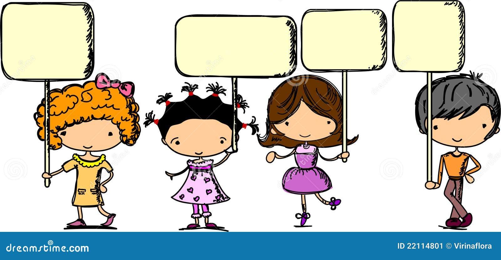 Set Of Cartoon Childrens Faces Stock Vector Art More: Set Cartoon Children With Banners,vector Stock Vector