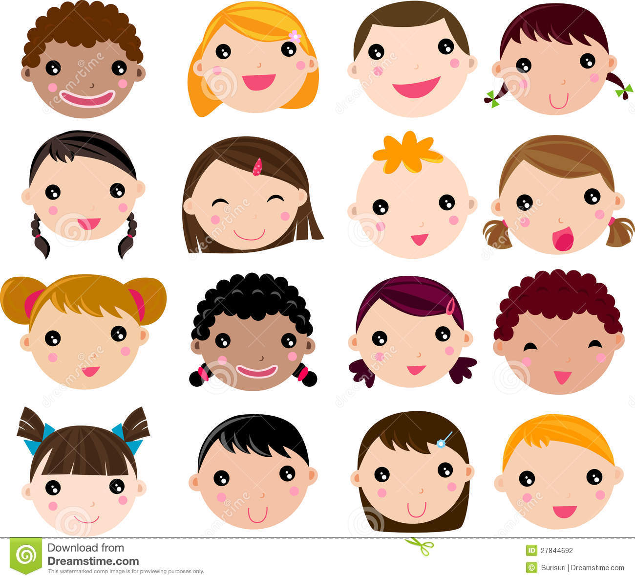 set of cartoon children face stock photography - Cartoon Children Pictures
