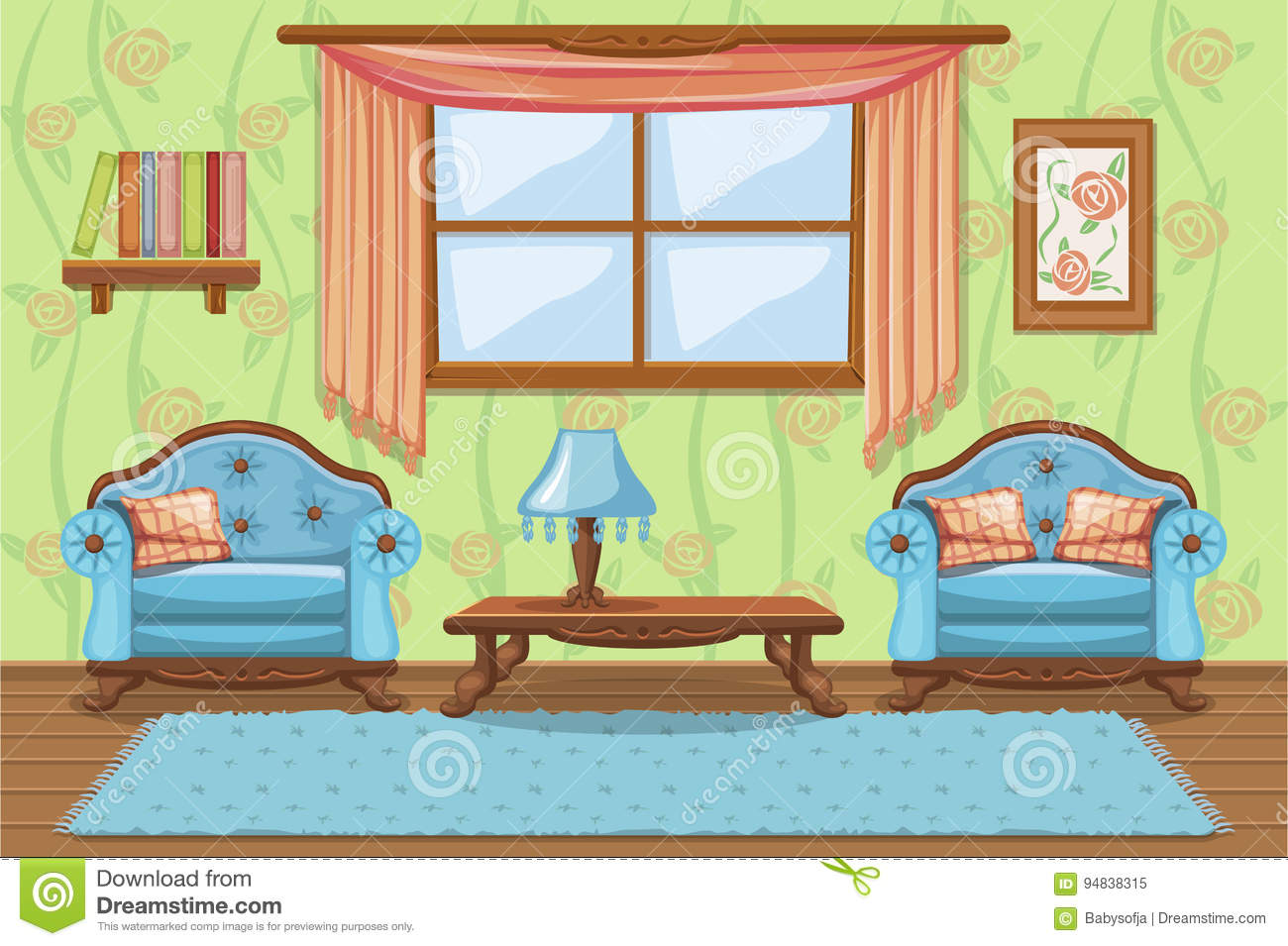 Set Cartoon Cushioned Furniture Living Room Stock Vector