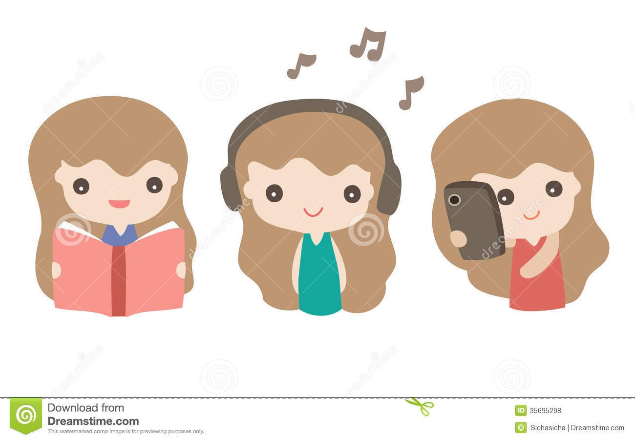 Set Of Cartoon Cute Girls In Various Activity Royalty Free Stock Photos