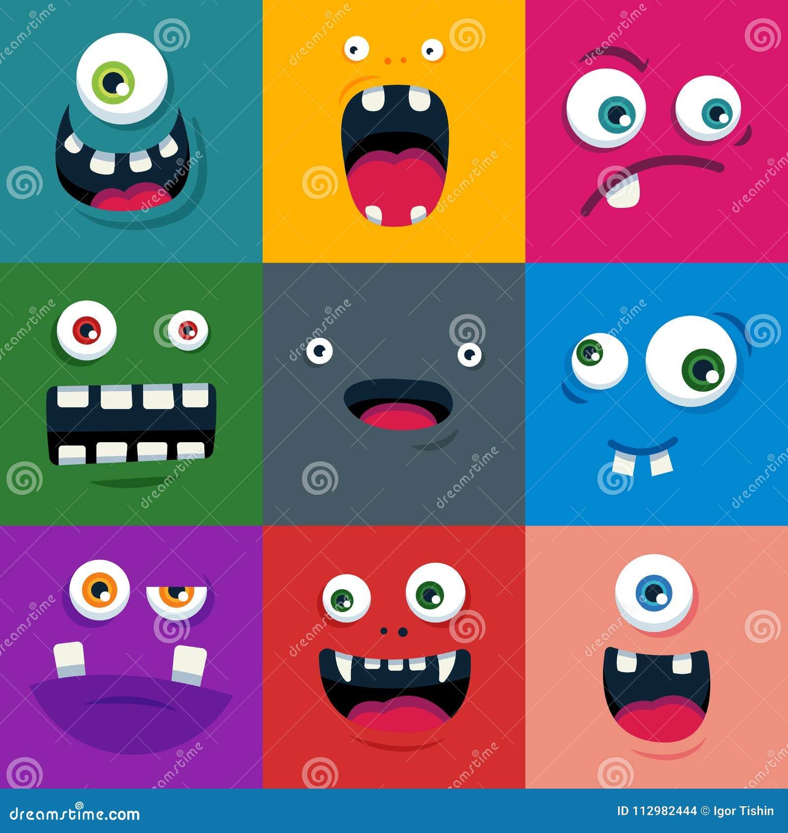 Set of cartoon cute monster faces. flat vector illustration