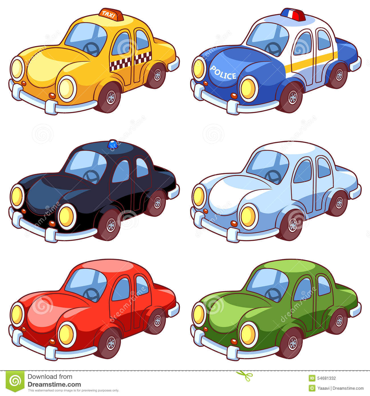 Set Of Cartoon Different Cars Stock Vector